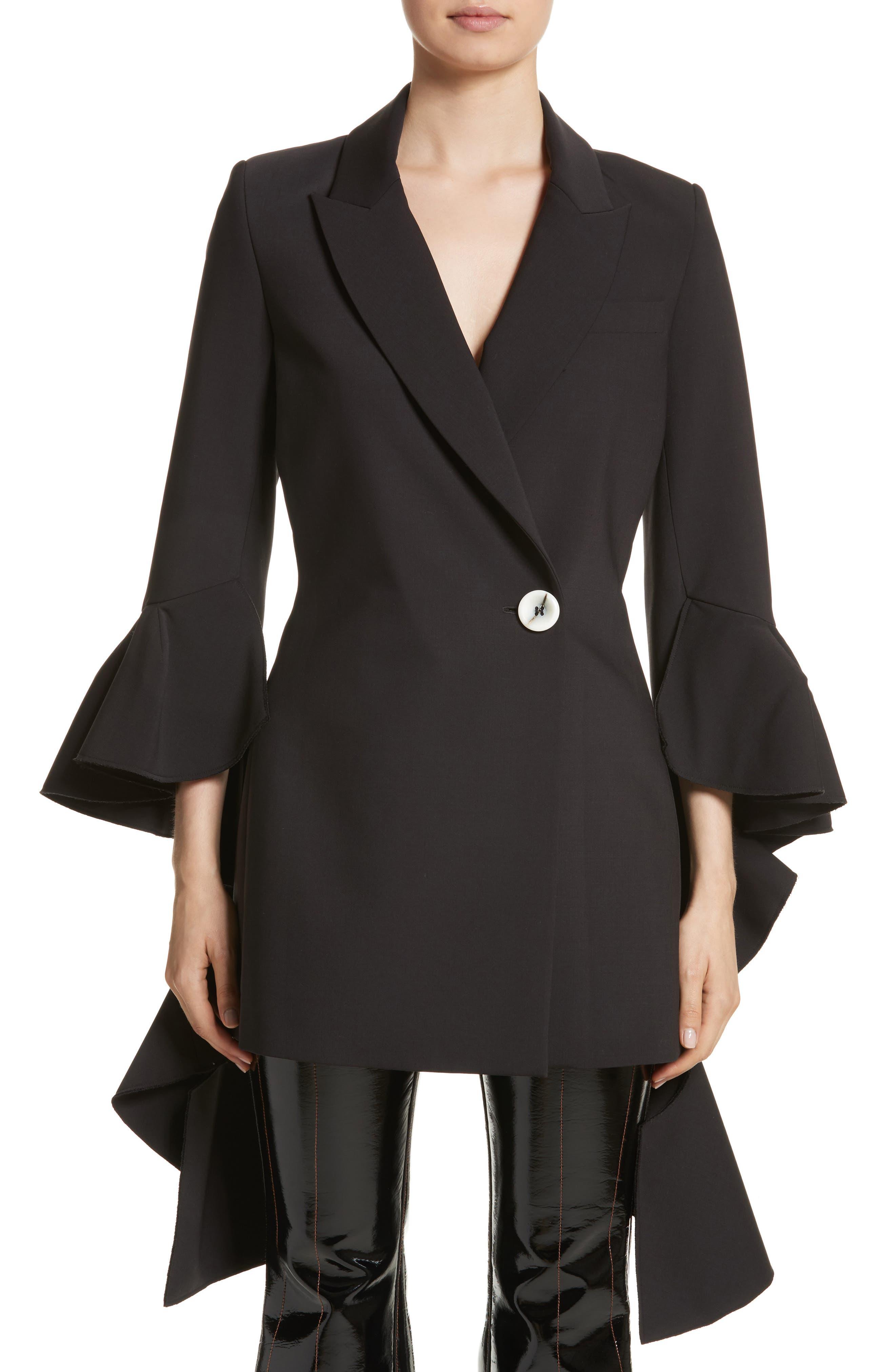 Forsaken Frill Sleeve Jacket,                             Main thumbnail 1, color,                             Black