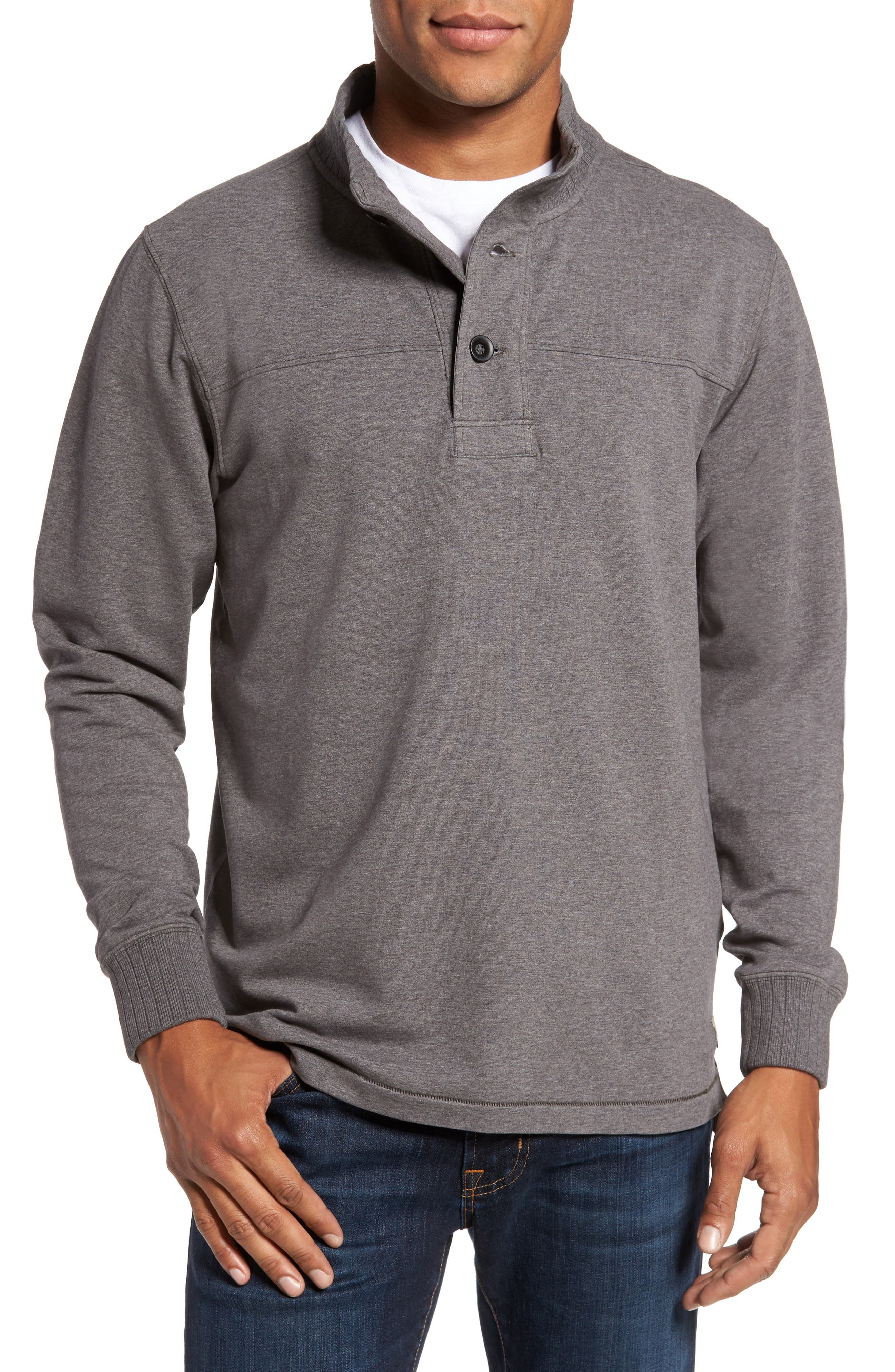 Taylor Quarter Button Pullover,                             Main thumbnail 1, color,                             Smoked Pearl Heather