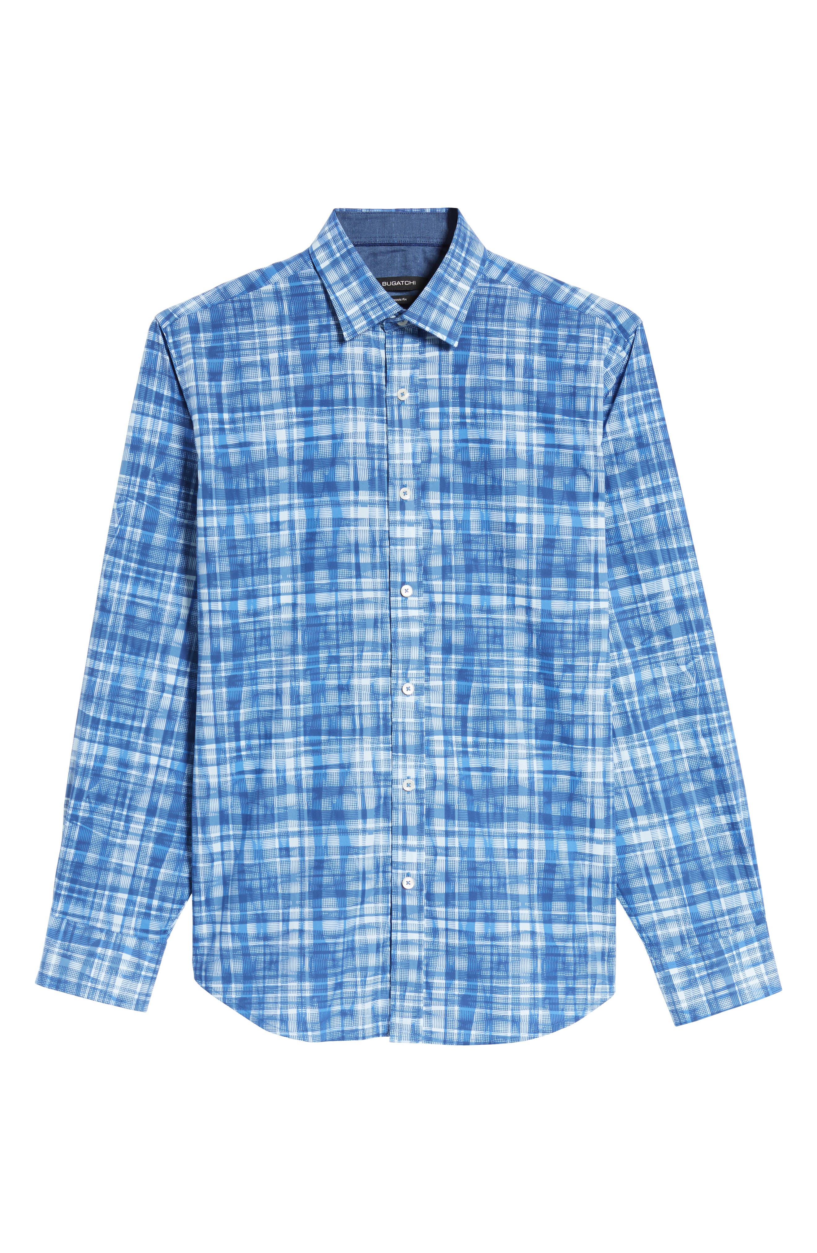 Classic Fit Abstract Plaid Sport Shirt,                             Alternate thumbnail 6, color,                             Classic Blue