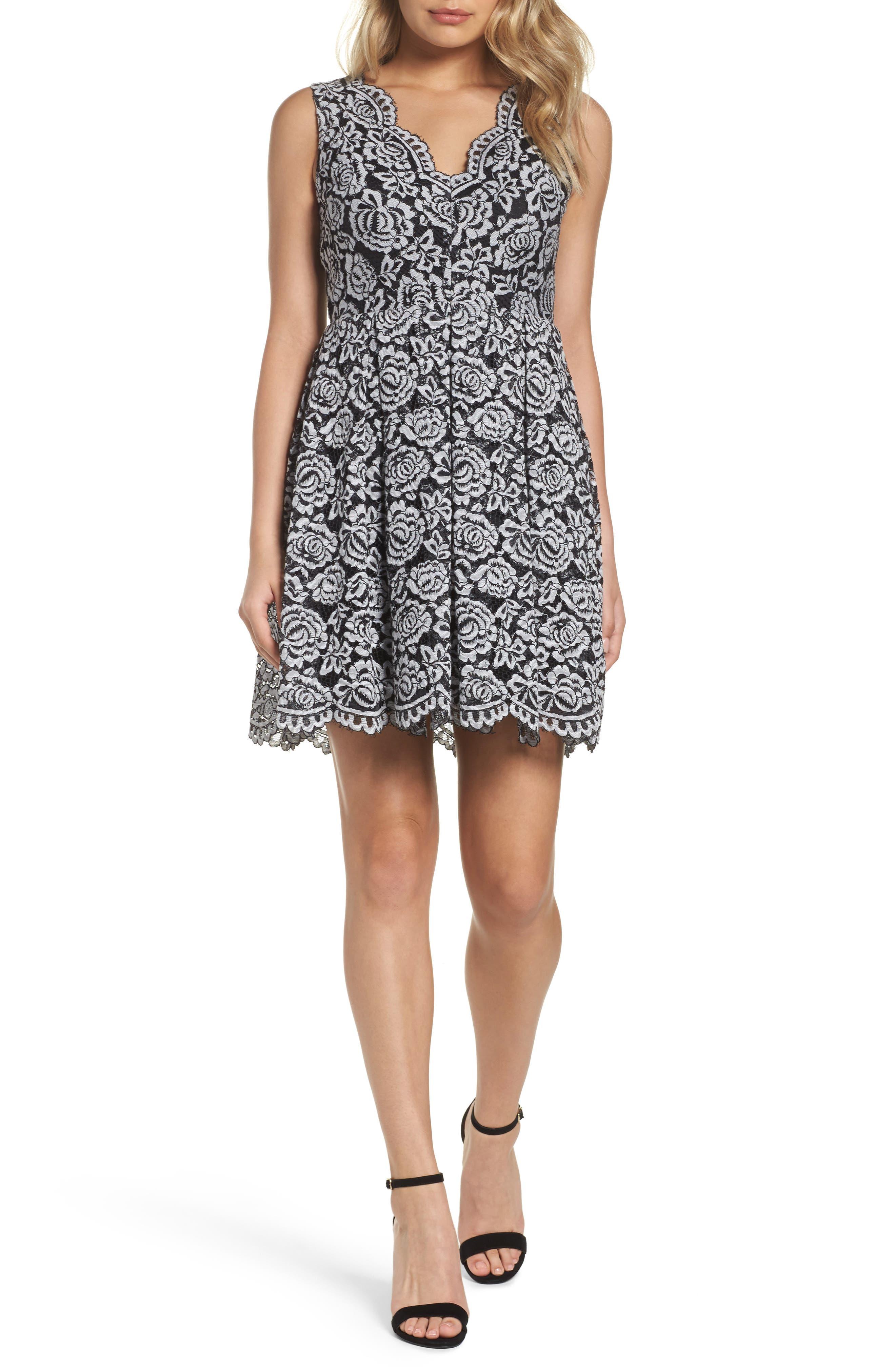 Lace Fit & Flare Dress,                         Main,                         color, Black/ White