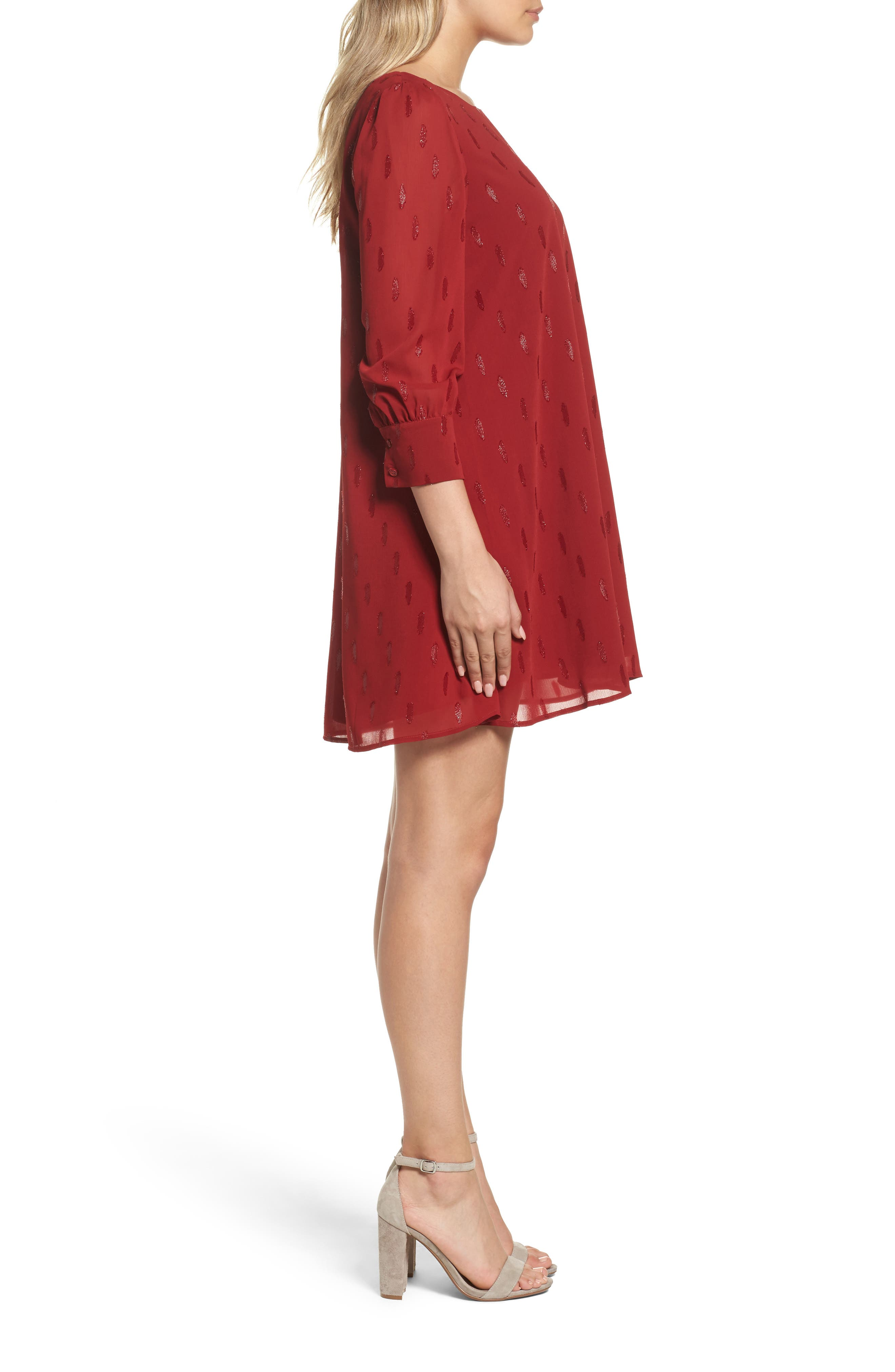 Dayna Shift Dress,                             Alternate thumbnail 3, color,                             Lipstick Red