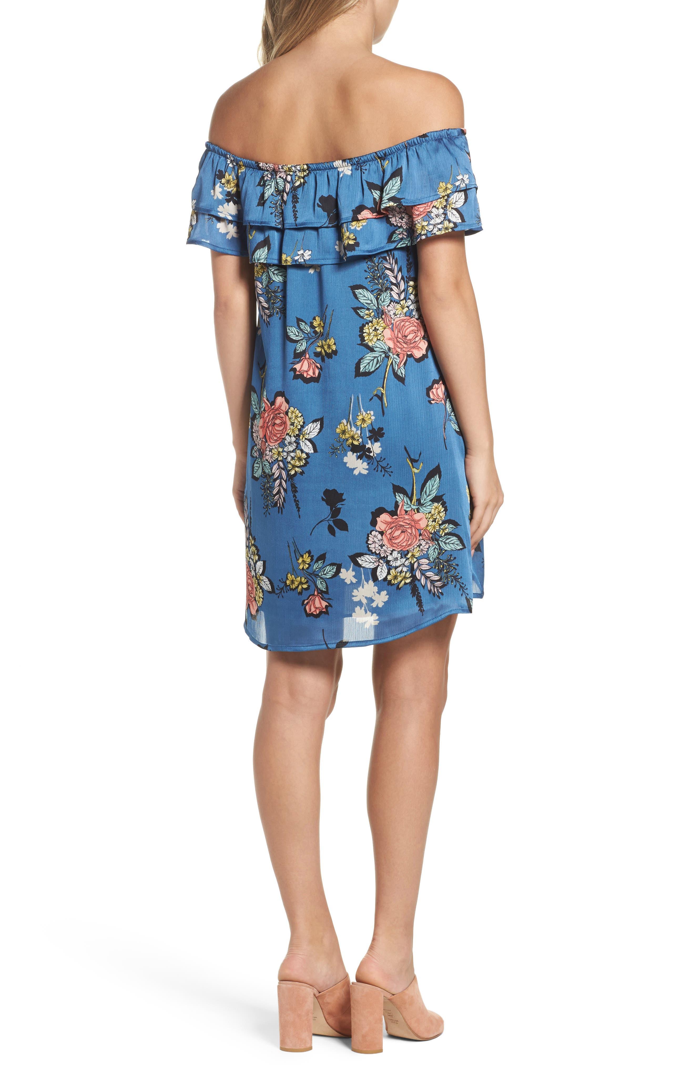 Off the Shoulder Ruffle Dress,                             Alternate thumbnail 2, color,                             Charcoal Flower Blue