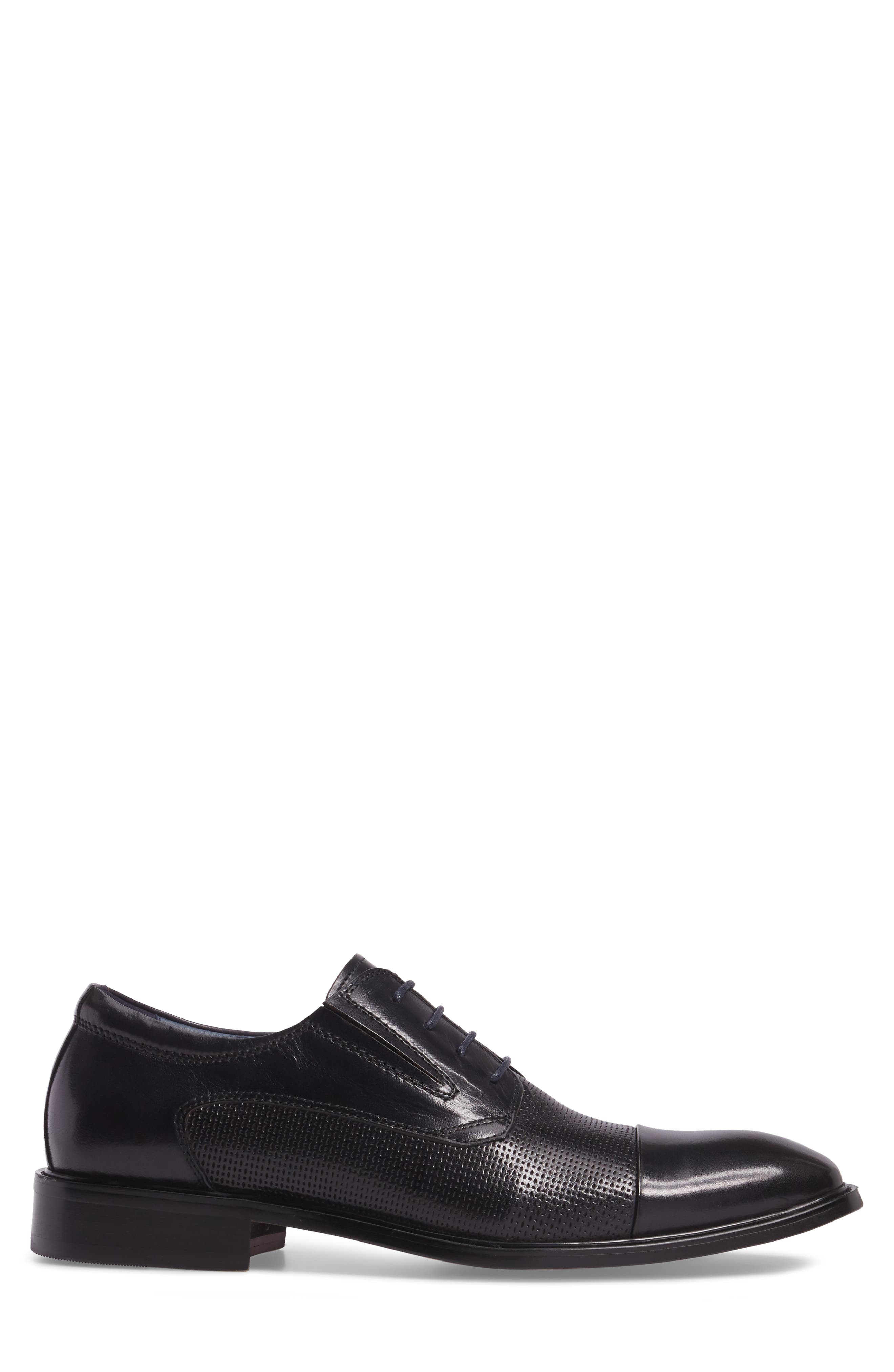 Dayes Cap Toe Derby,                             Alternate thumbnail 3, color,                             Navy Leather