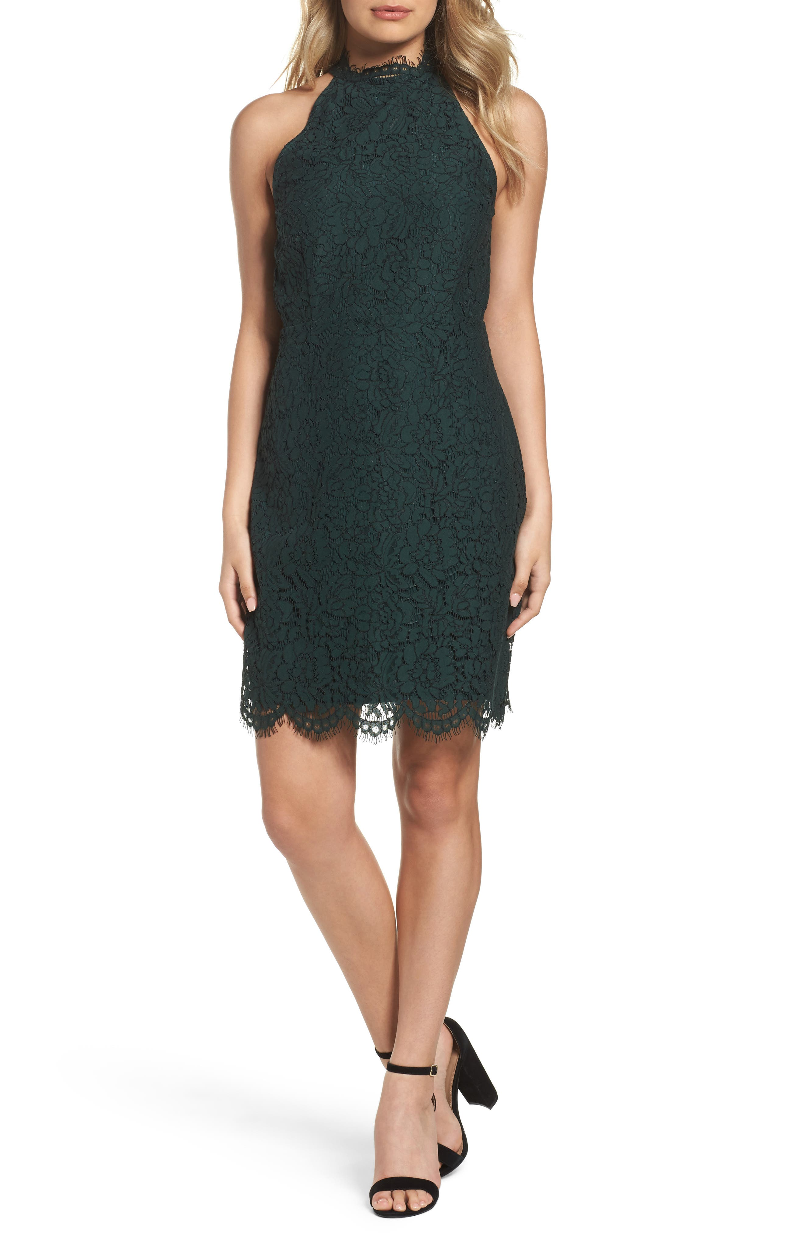 'Cara' High Neck Lace Dress,                             Main thumbnail 1, color,                             Forest Green
