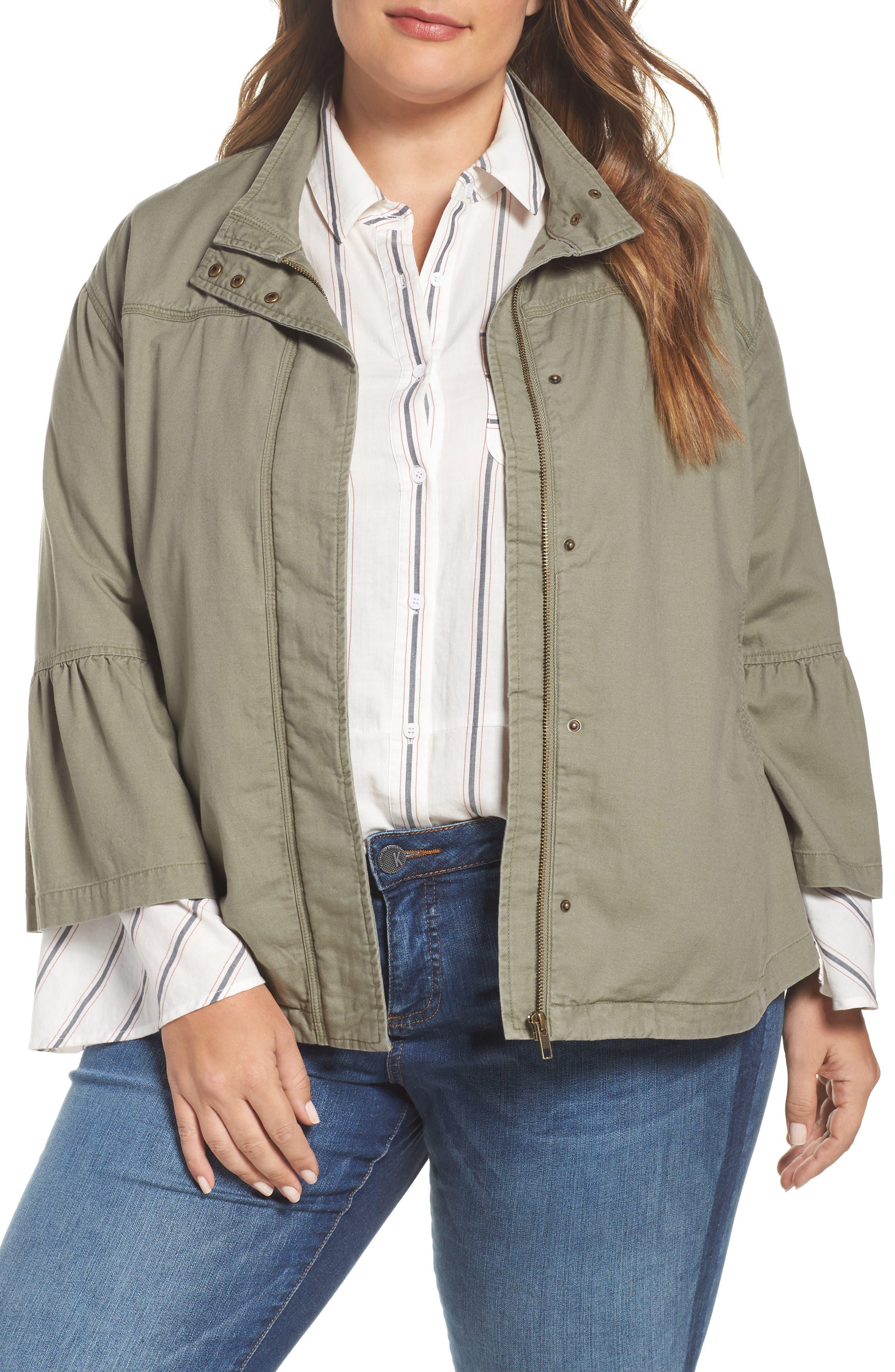Caslon® Bell Sleeve Utility Jacket (Plus Size)