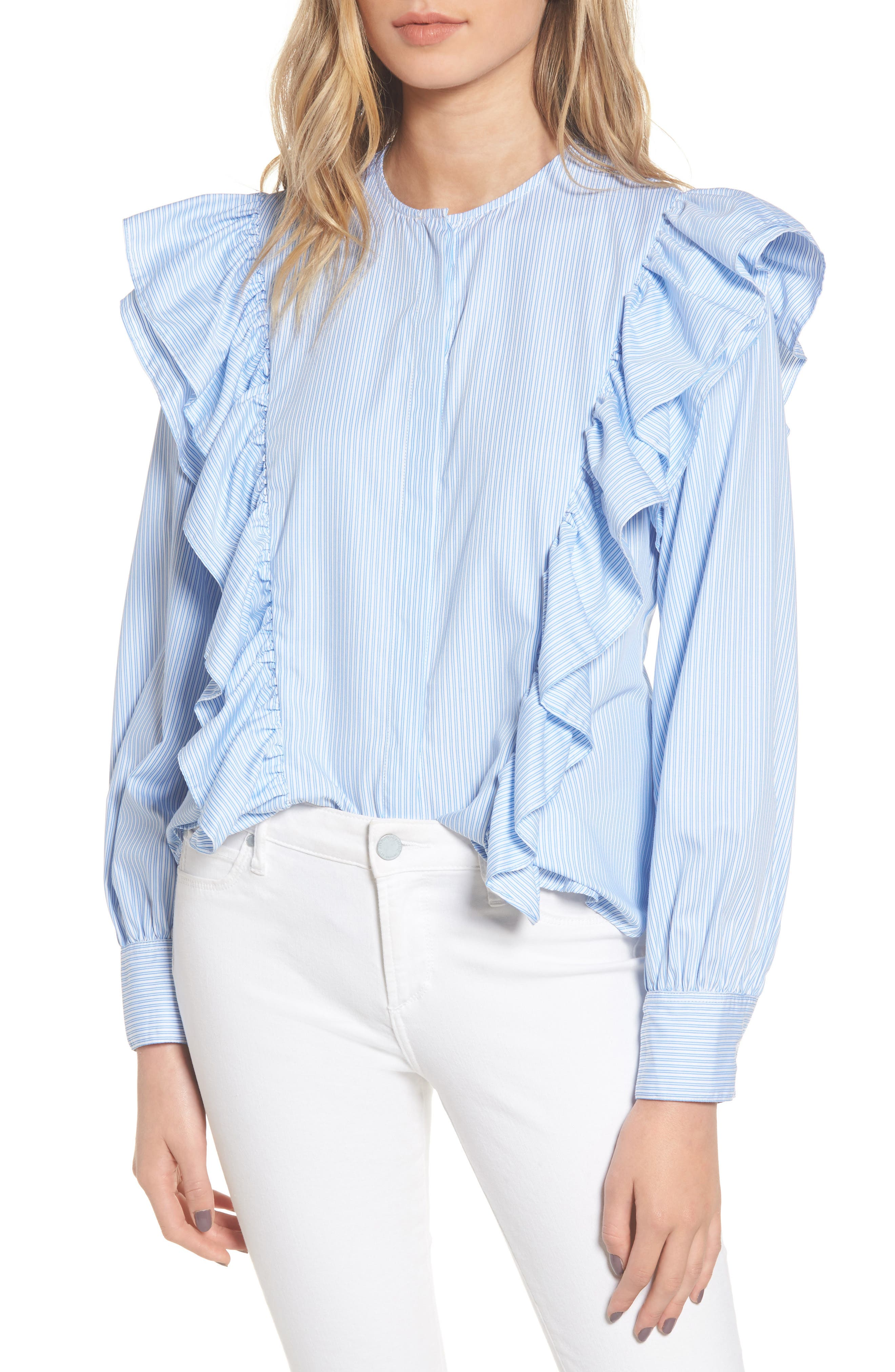Girl Meets Boy Ruffle Top,                         Main,                         color, Striped Blue