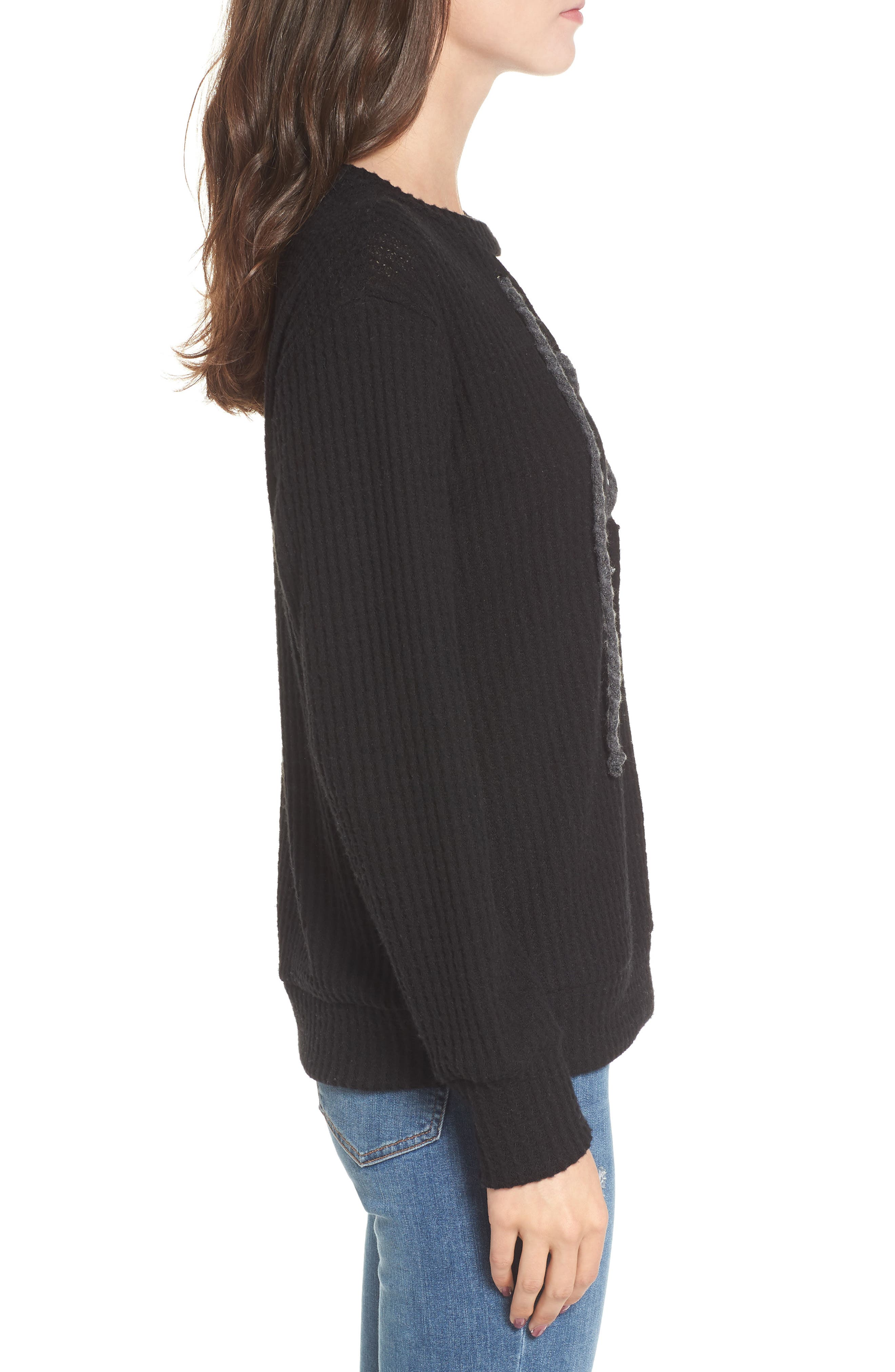 Lace-Up Waffle Knit Sweater,                             Alternate thumbnail 3, color,                             Black