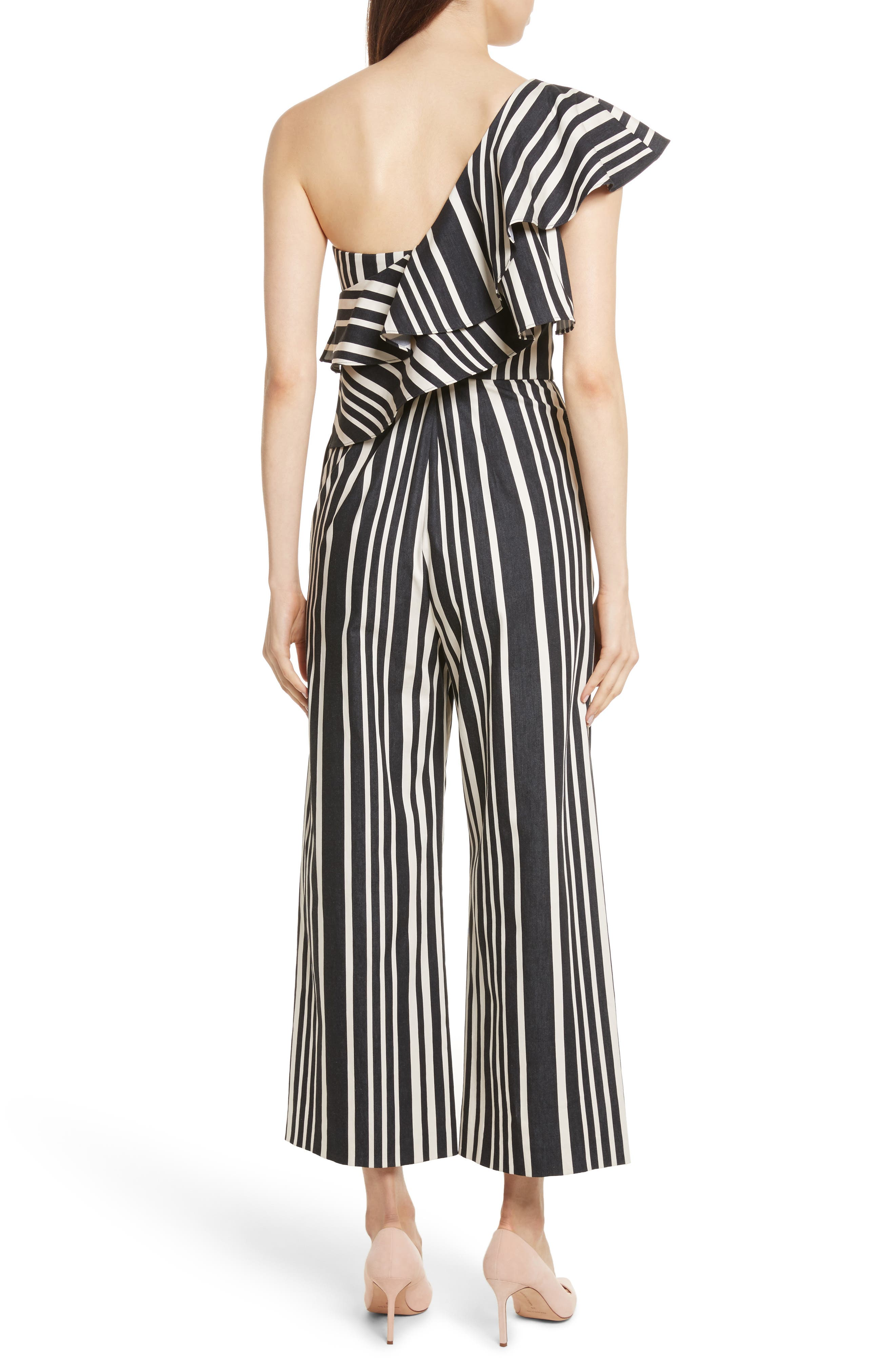 Alternate Image 2  - Alice + Olivia Sabeen Ruffle Stripe Crop Jumpsuit