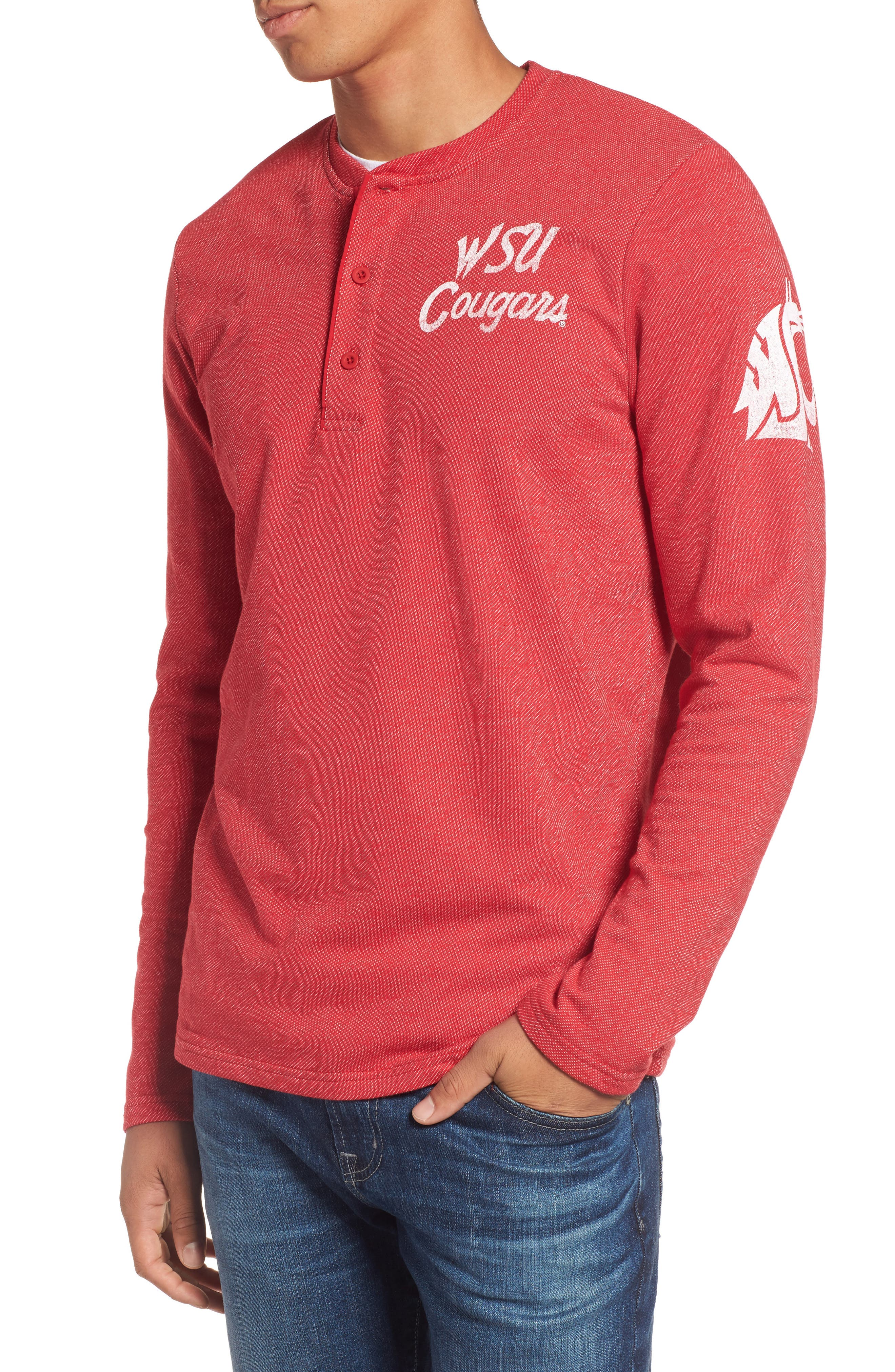 Washington State University Cougars Henley,                         Main,                         color, Red