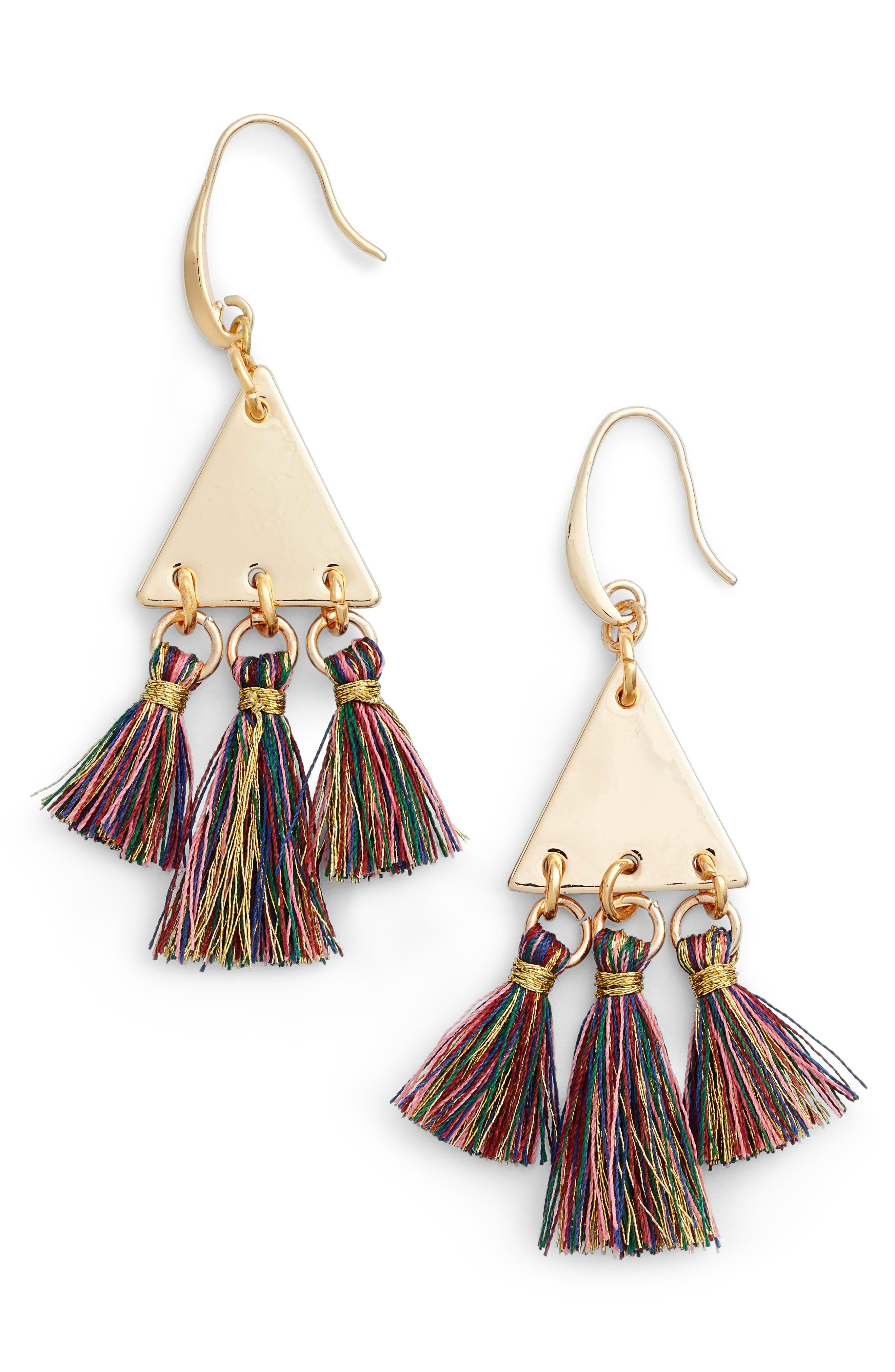 Rebecca Minkoff Triple Tassel Chandelier Earrings