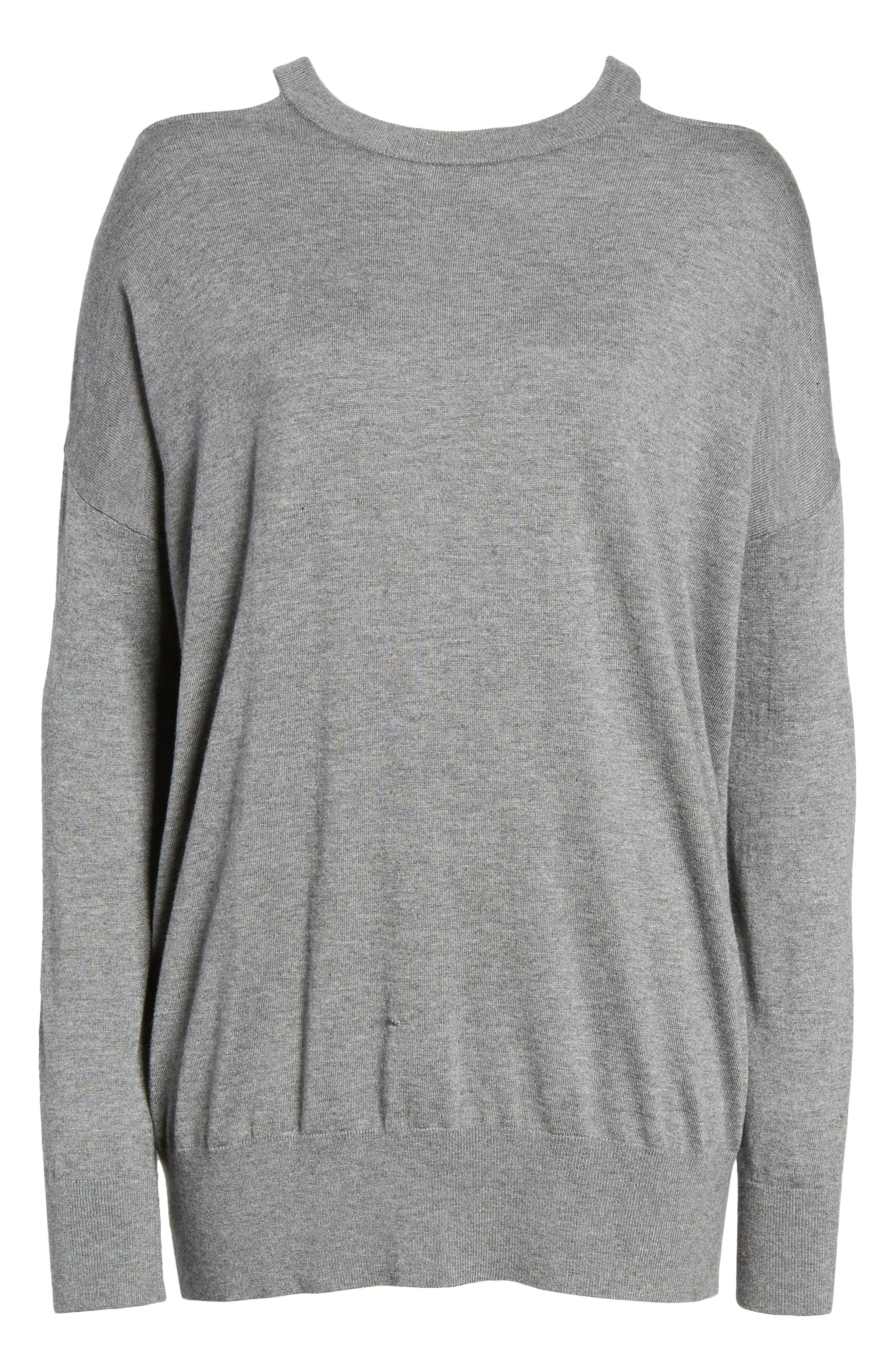 Canarise Cutout Sweater,                             Alternate thumbnail 6, color,                             Heather Cinder