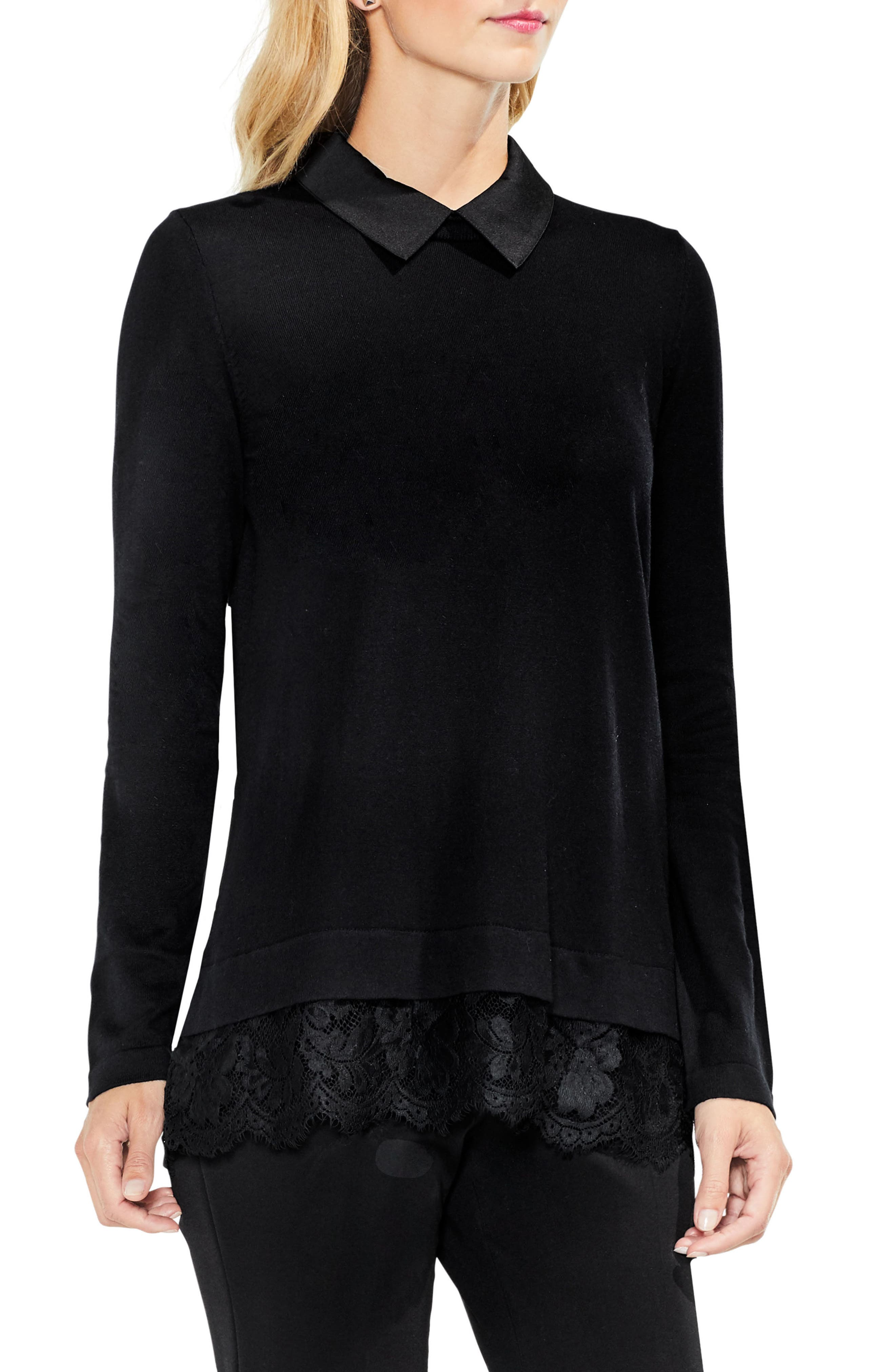 Lace Hem Collared Sweater,                         Main,                         color, Rich Black
