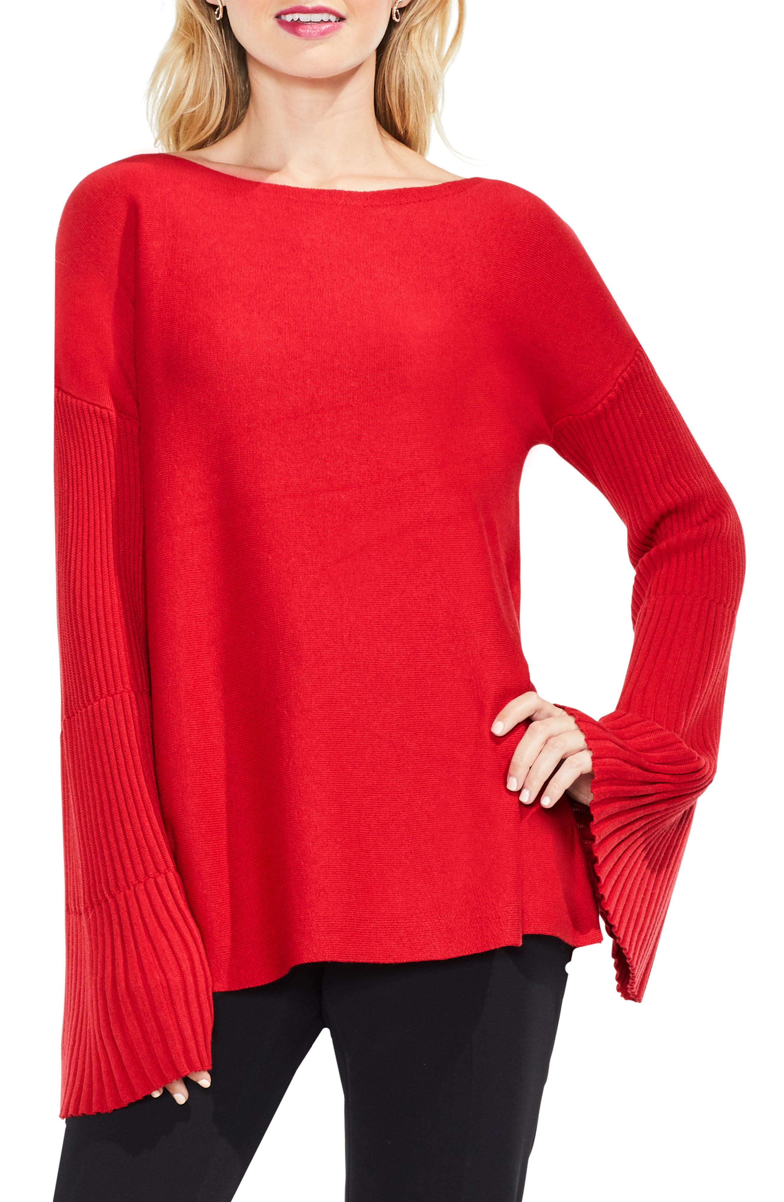 Bell Sleeve Ribbed Sweater,                             Main thumbnail 1, color,                             True Crimson