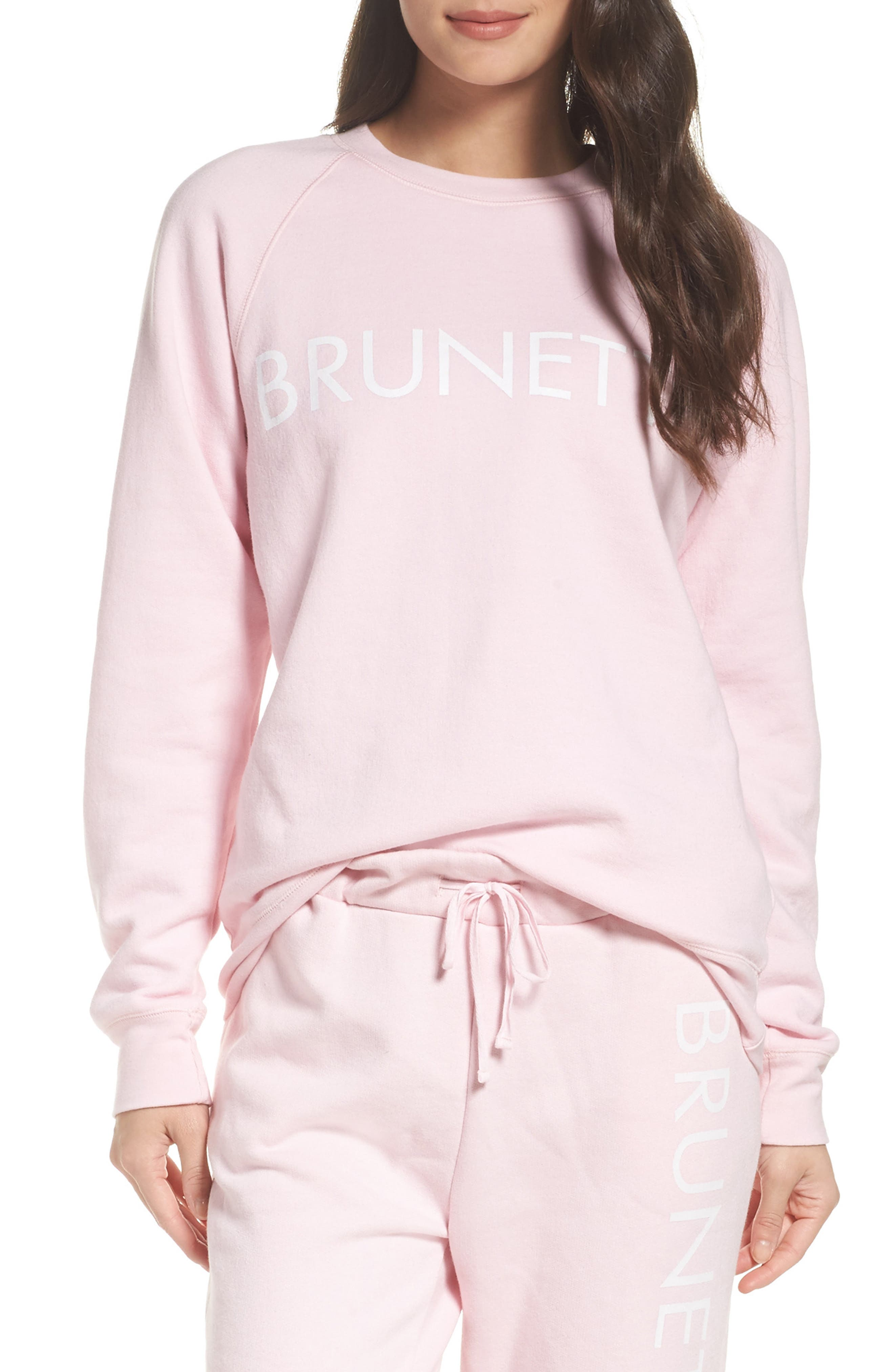 Brunette Crewneck Sweatshirt,                         Main,                         color, Pink