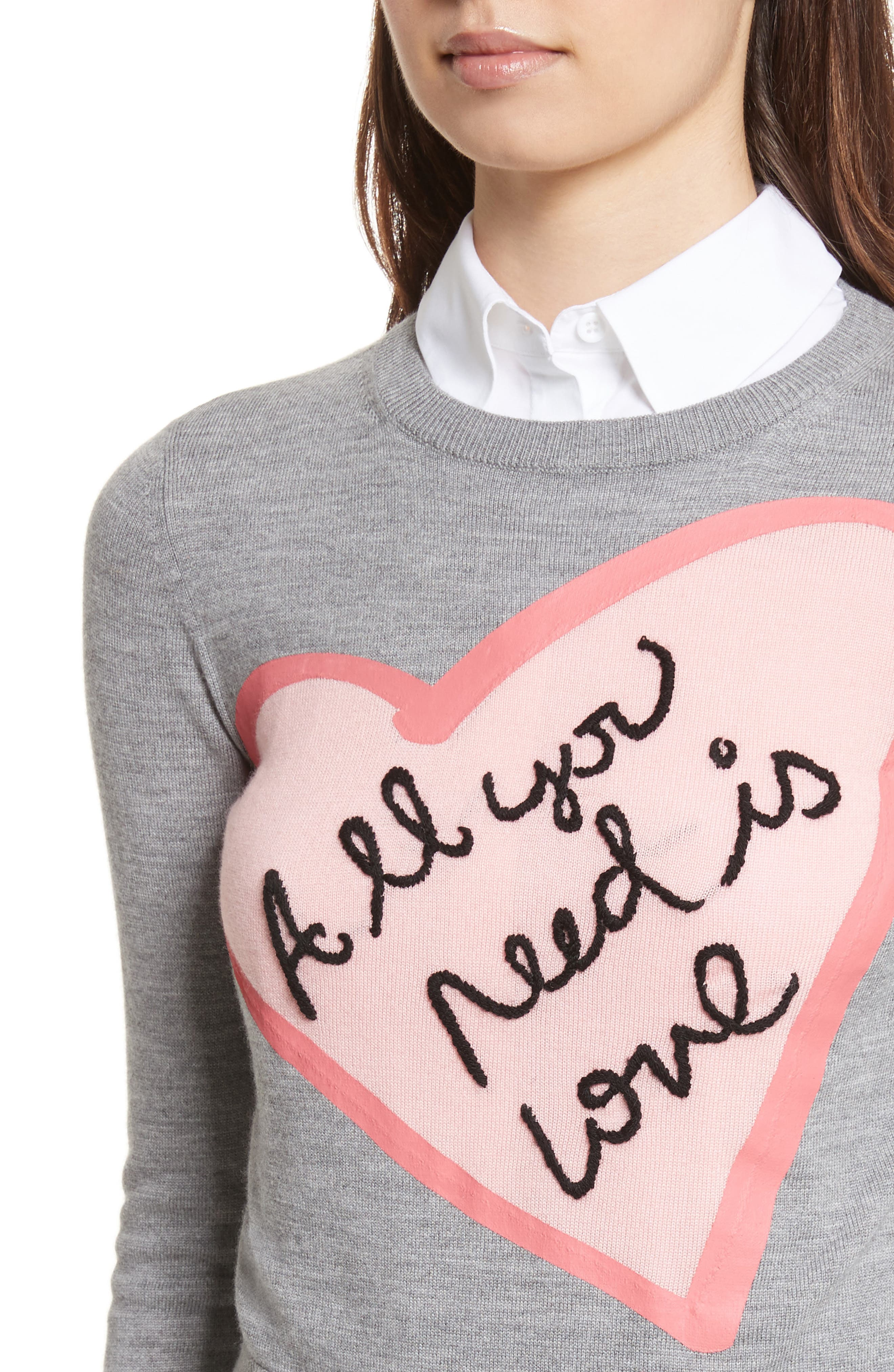 AO x The Beatles Nikia All You Need is Love Pullover,                             Alternate thumbnail 4, color,                             Medium Grey/ Pink/ White