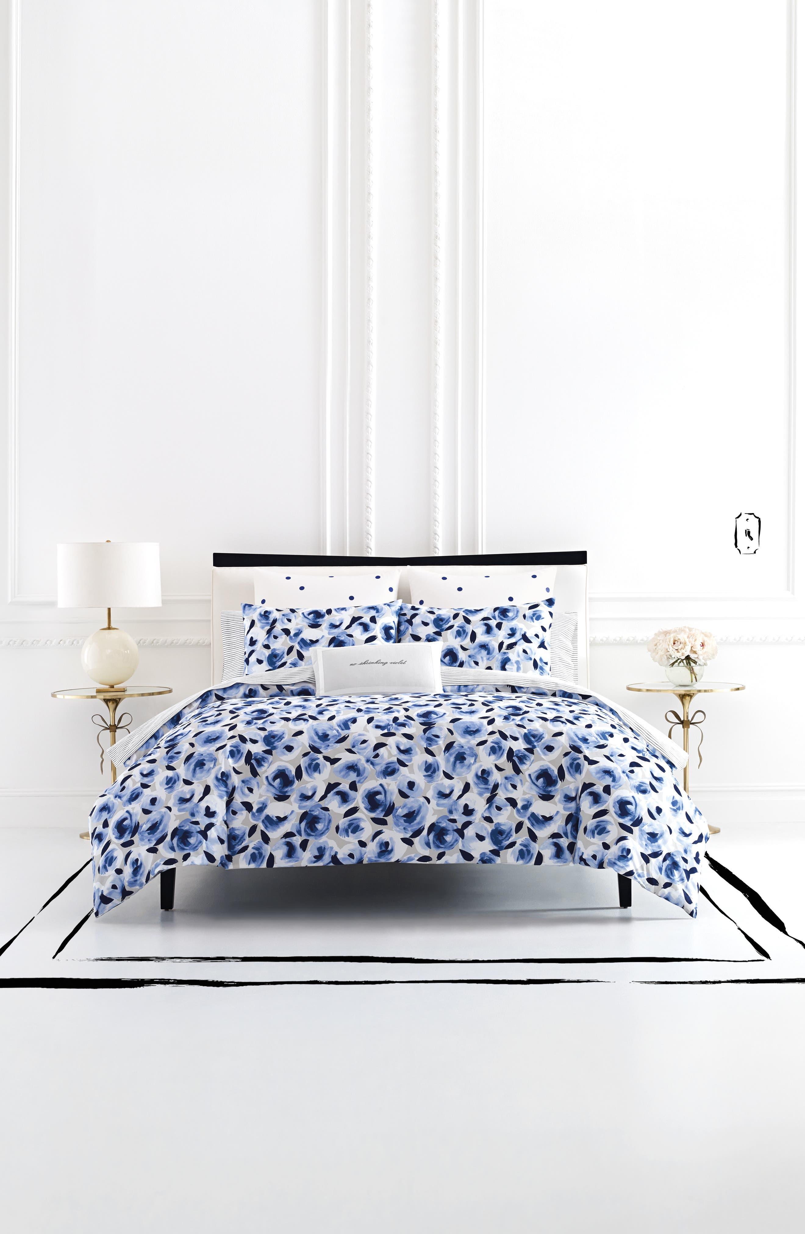 garden rose comforter & sham set,                         Main,                         color, Navy