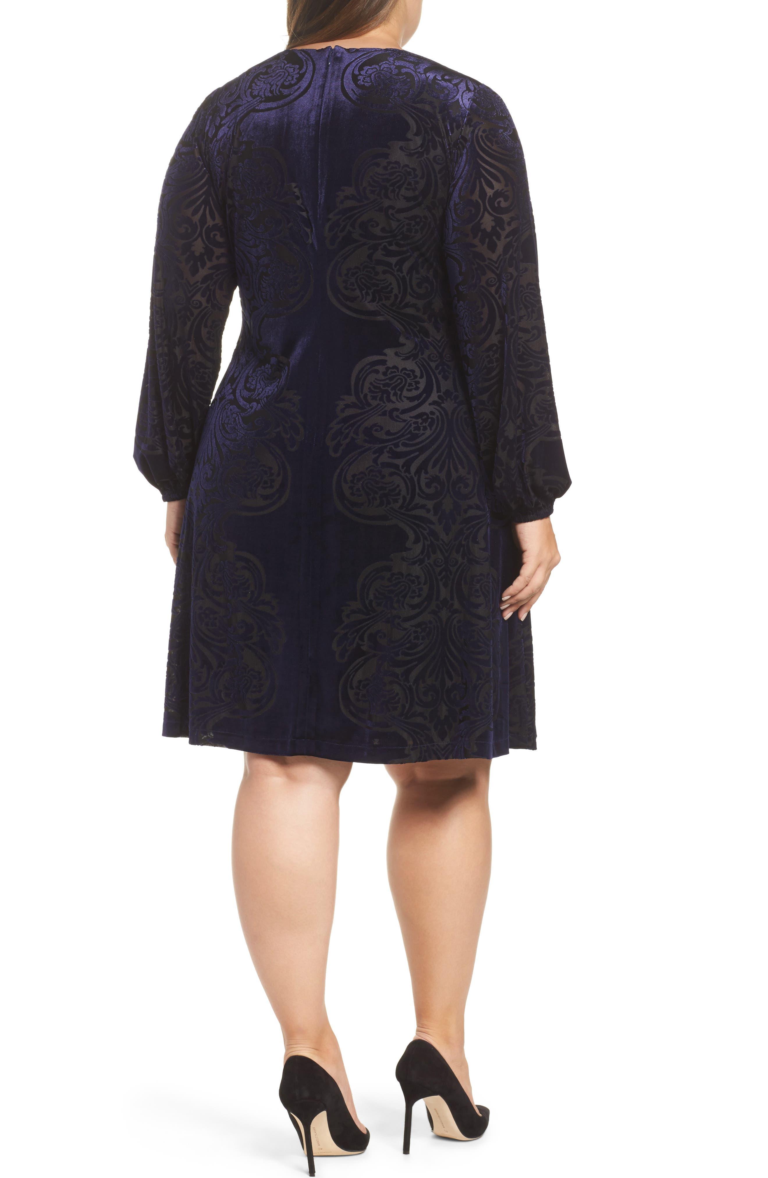 Alternate Image 2  - Eliza J Burnout Velvet Shift Dress (Plus Szie)