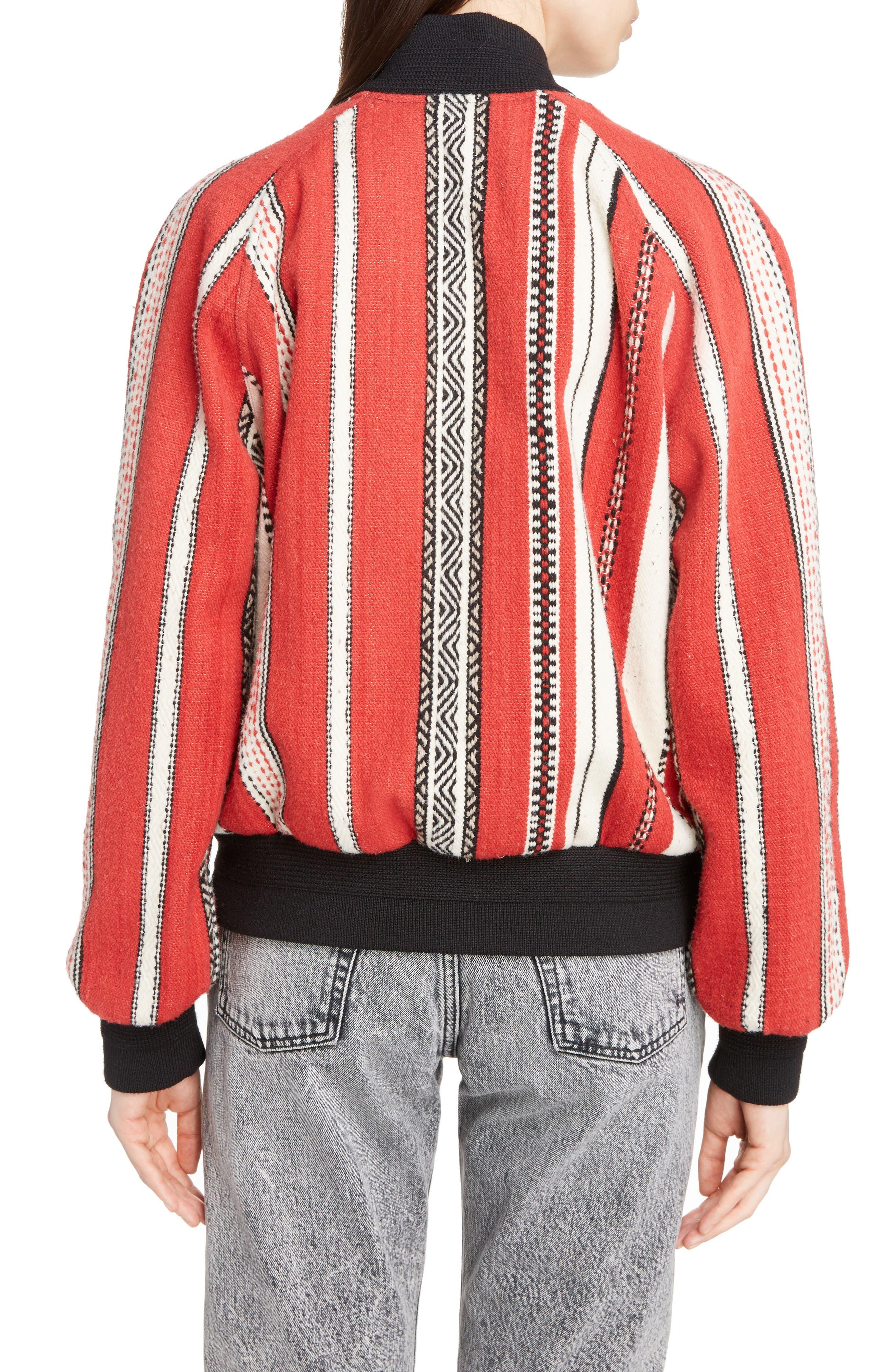 Tapestry Wool Blend Teddy Jacket,                             Alternate thumbnail 2, color,                             Rouge Craie Noir