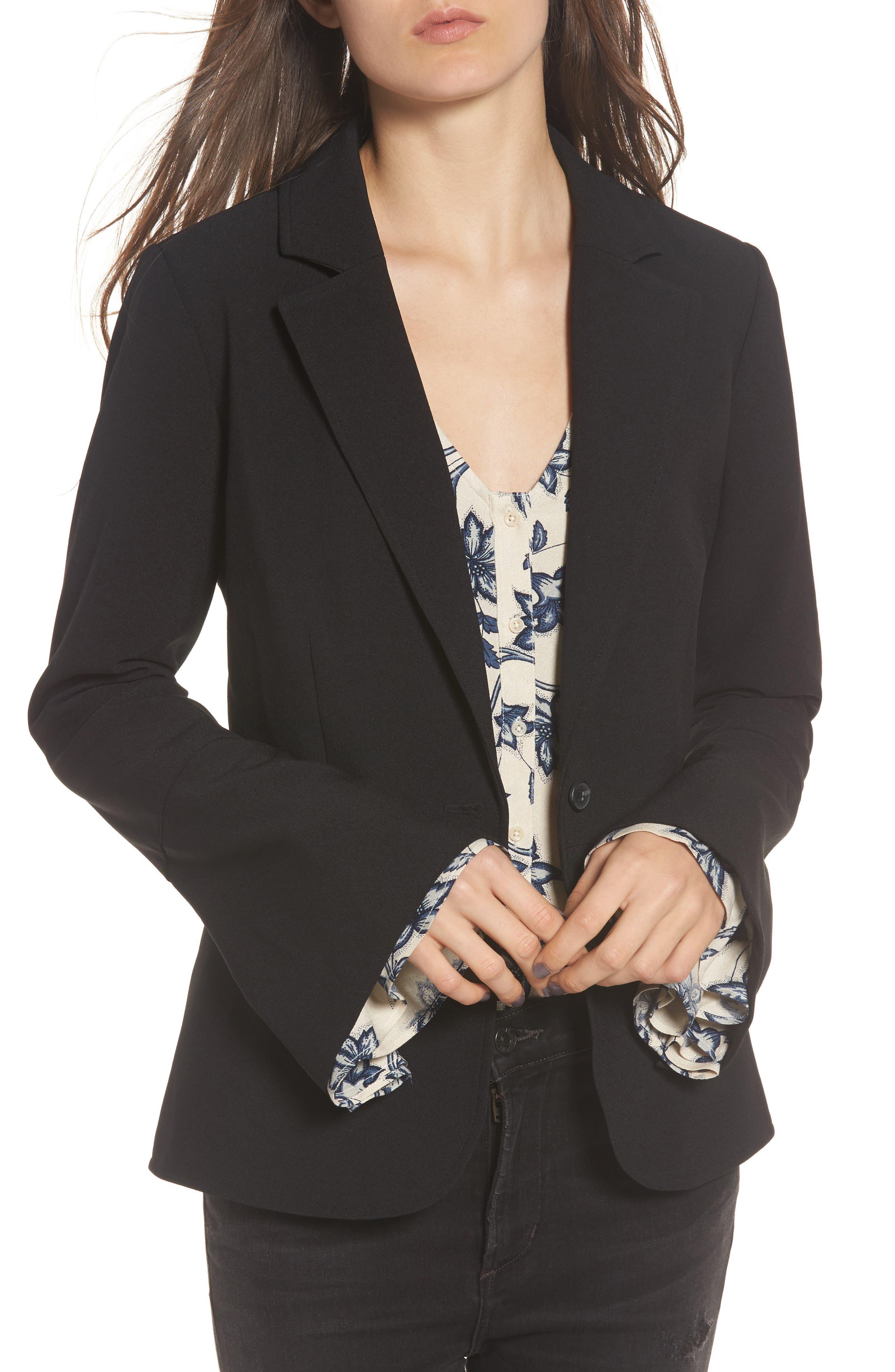 Wide Cuff Blazer,                         Main,                         color, Black