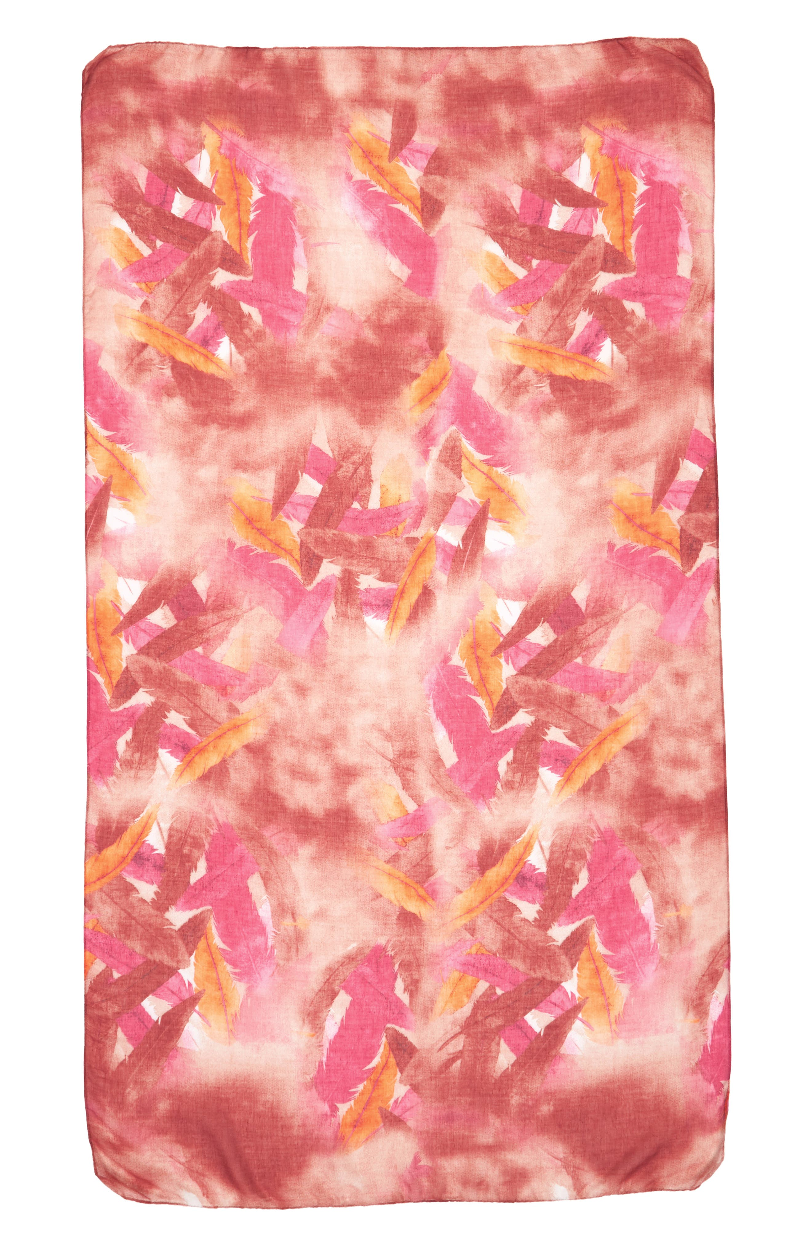 Accessory Collective Abstract Leaf Print Oblong Scarf,                             Alternate thumbnail 2, color,                             Red Multi