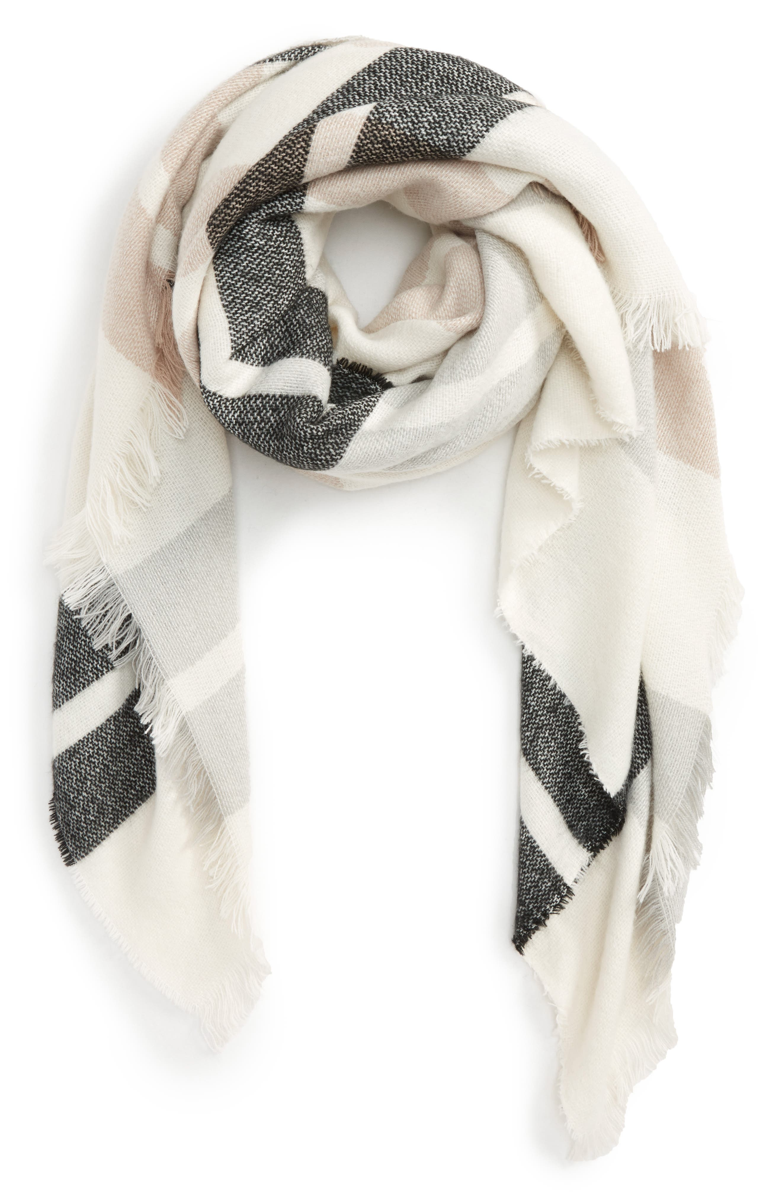 Accessory Collective Plaid Scarf,                         Main,                         color, Ivory Multi