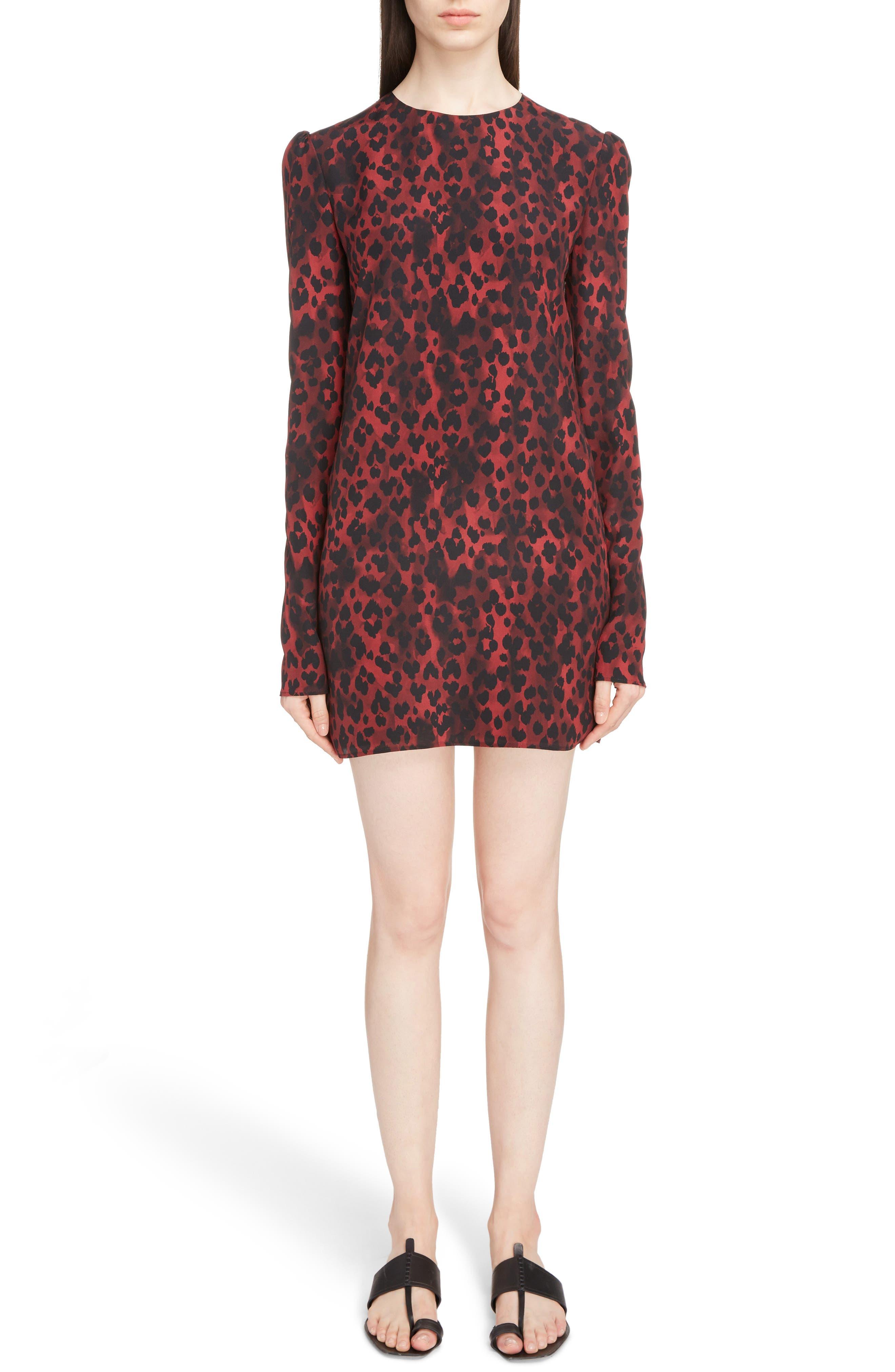 Silk Crêpe de Chine Leopard Print Shift Dress,                             Main thumbnail 1, color,                             Rouge