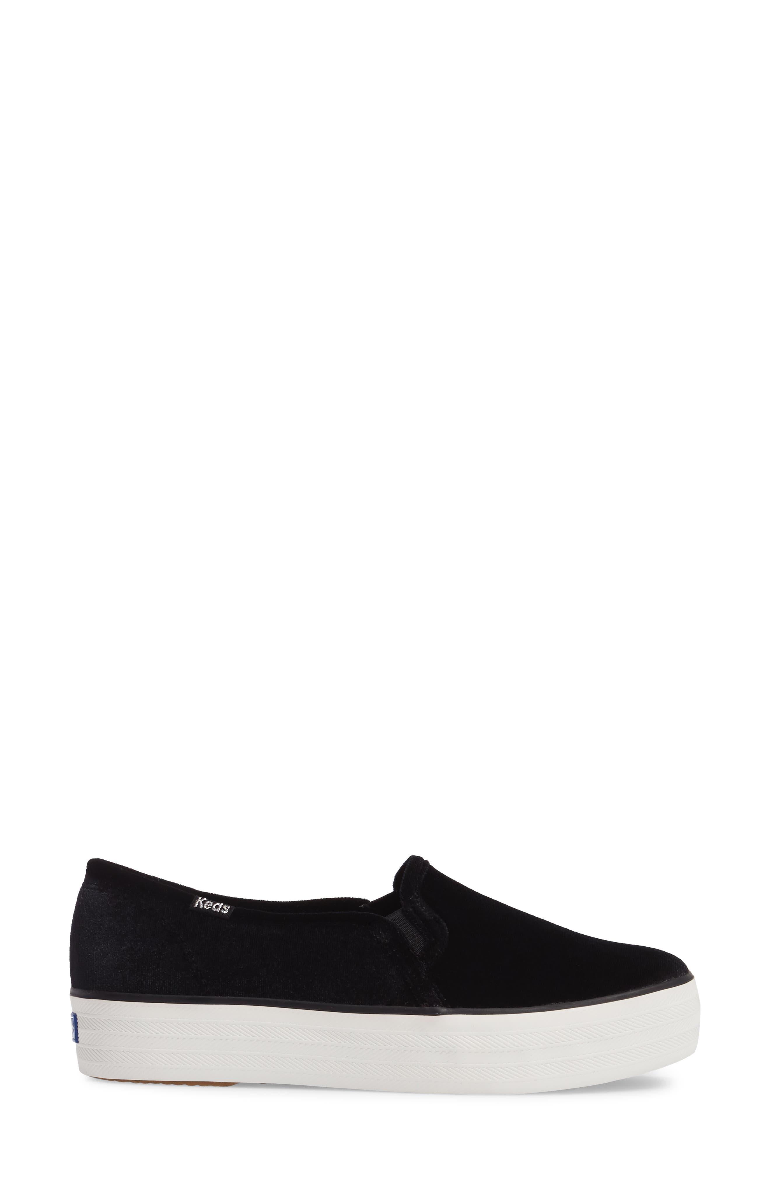 Triple Decker Slip-On Platform Sneaker,                             Alternate thumbnail 3, color,                             Black Velvet