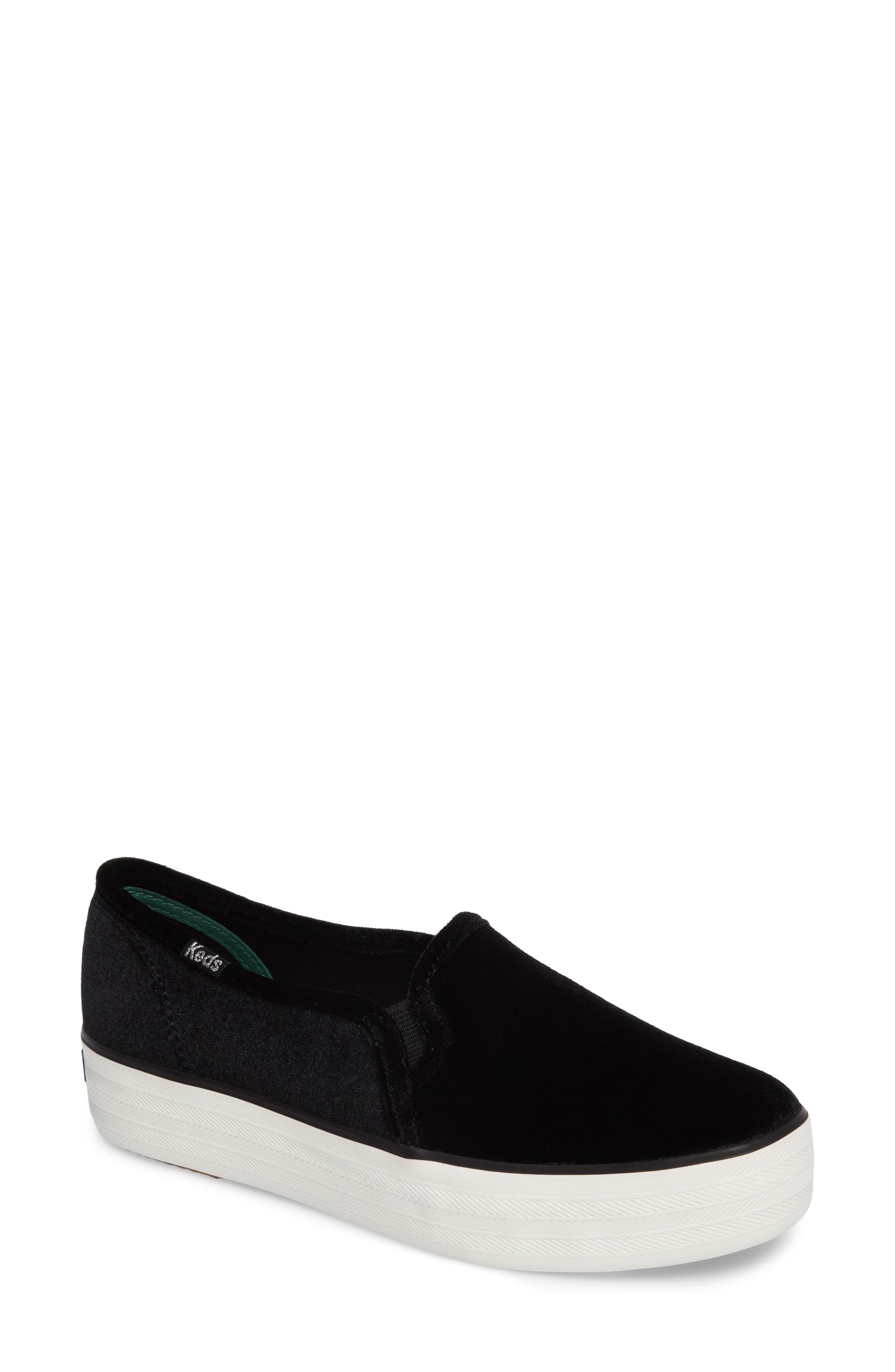 Triple Decker Slip-On Platform Sneaker,                             Main thumbnail 1, color,                             Black Velvet