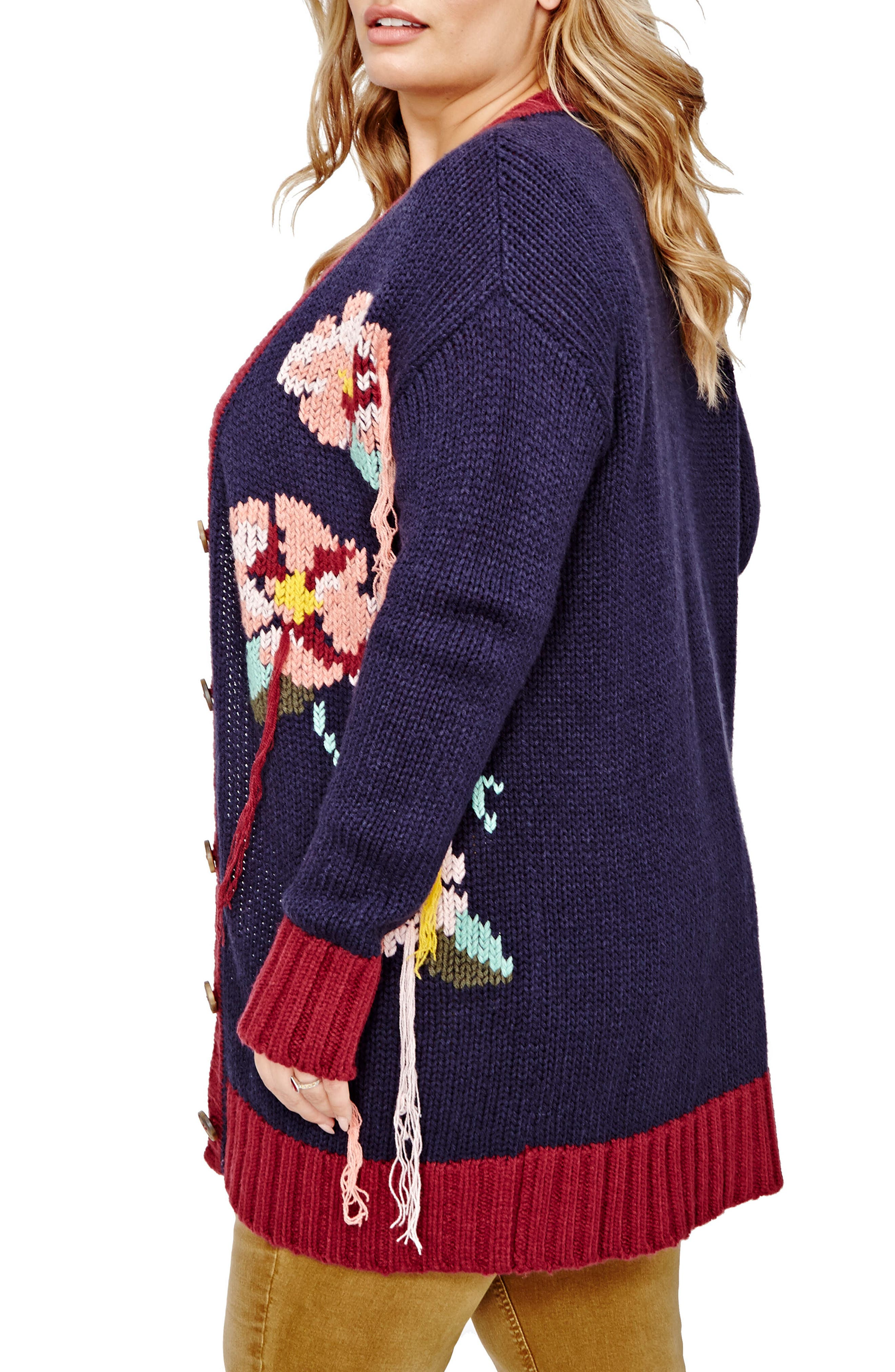 Alternate Image 3  - ADDITION ELLE LOVE AND LEGEND Hand Embroidered Cardigan (Plus Size)