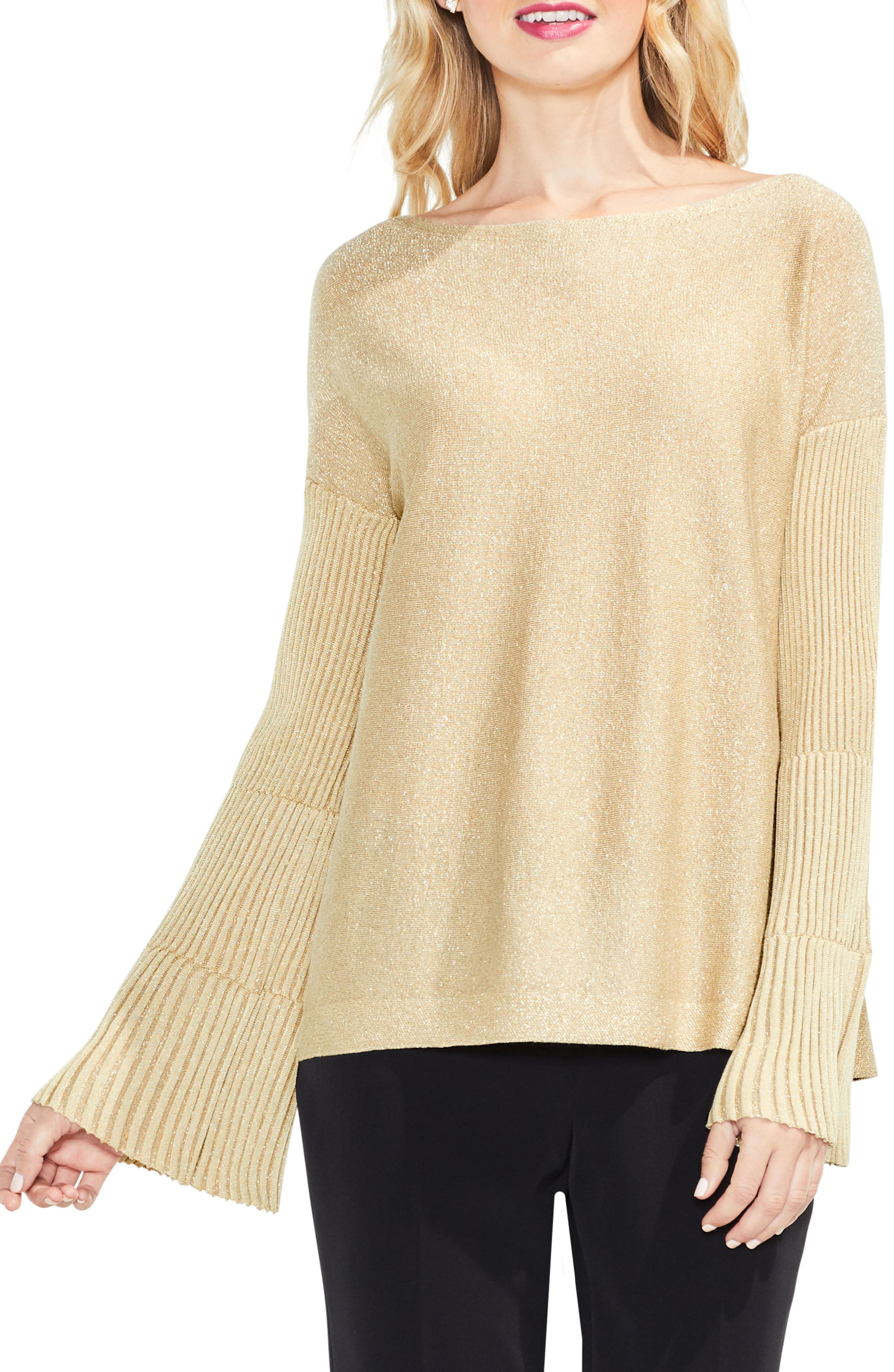 Vince Camuto Sparkly Bell Sleeve Sweater