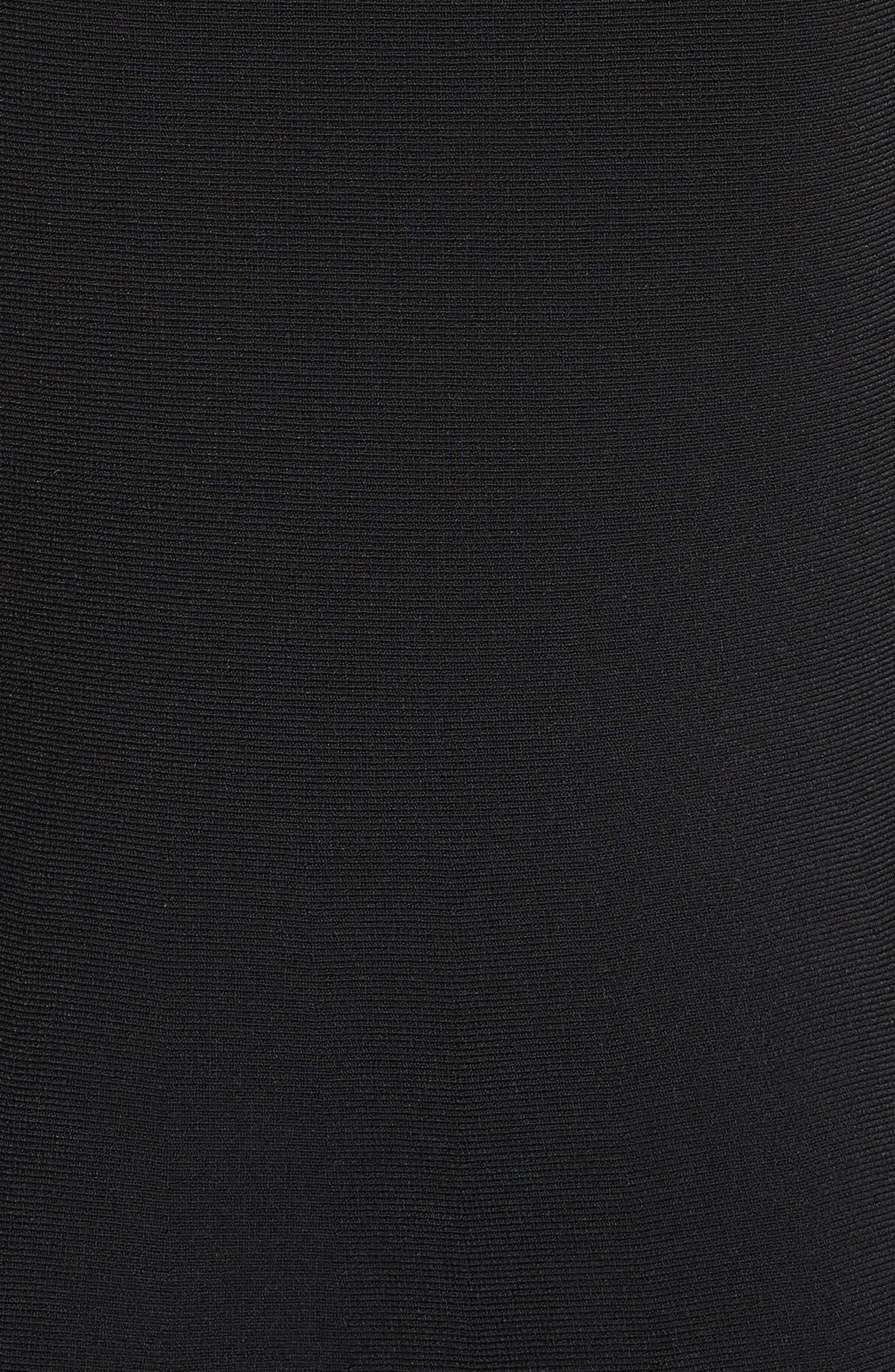 Ruffle Neckline Knit Dress,                             Alternate thumbnail 6, color,                             Black/ Ivory