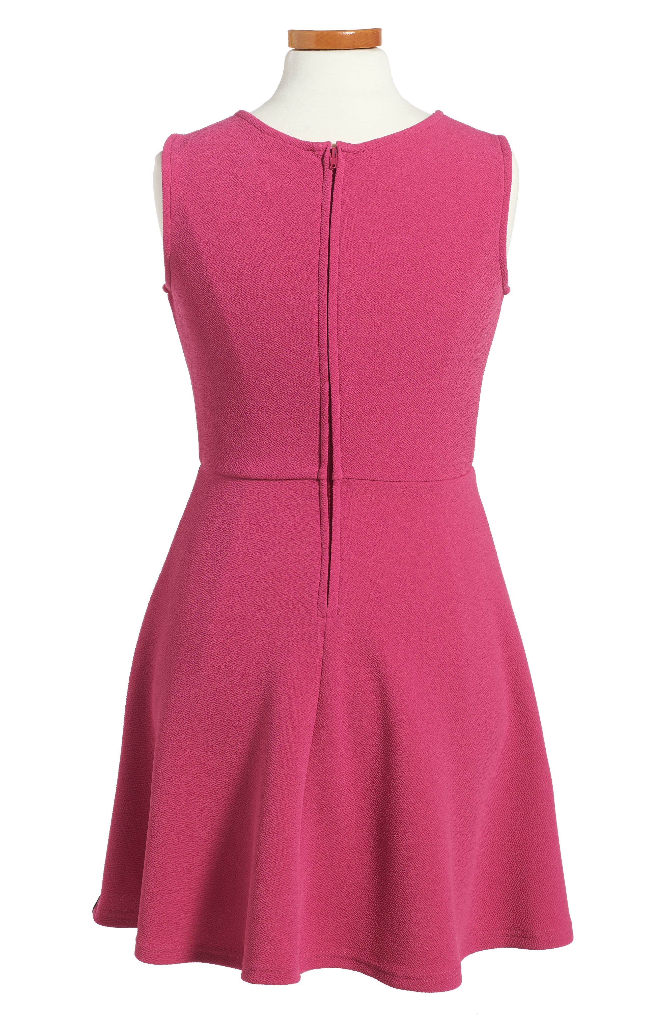 Lace Trim Piqué Dress,                             Alternate thumbnail 2, color,                             Raspberry