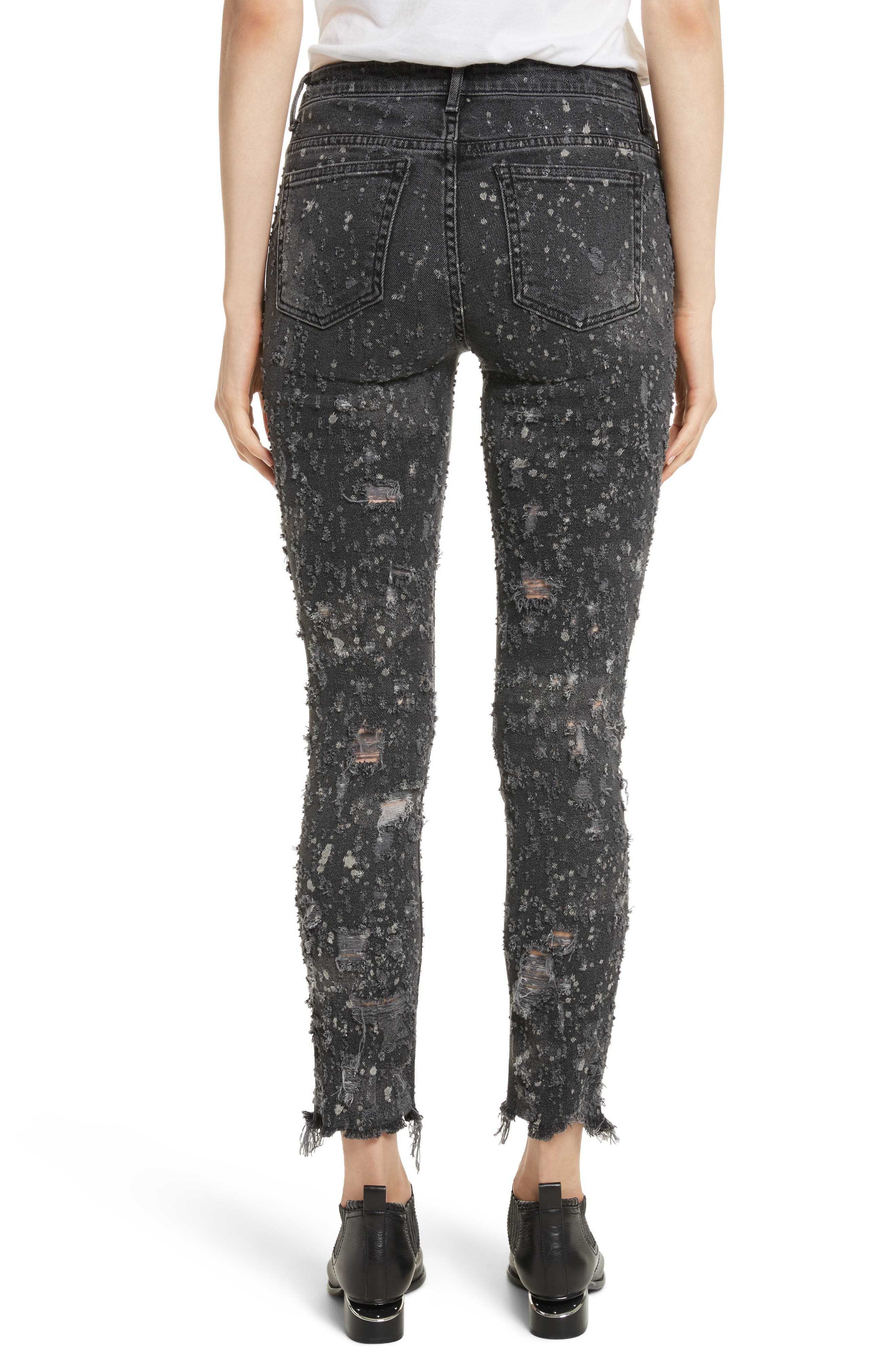 Denim X Alexander Wang Slim Destroyed Jeans,                             Alternate thumbnail 2, color,                             Grey Fade