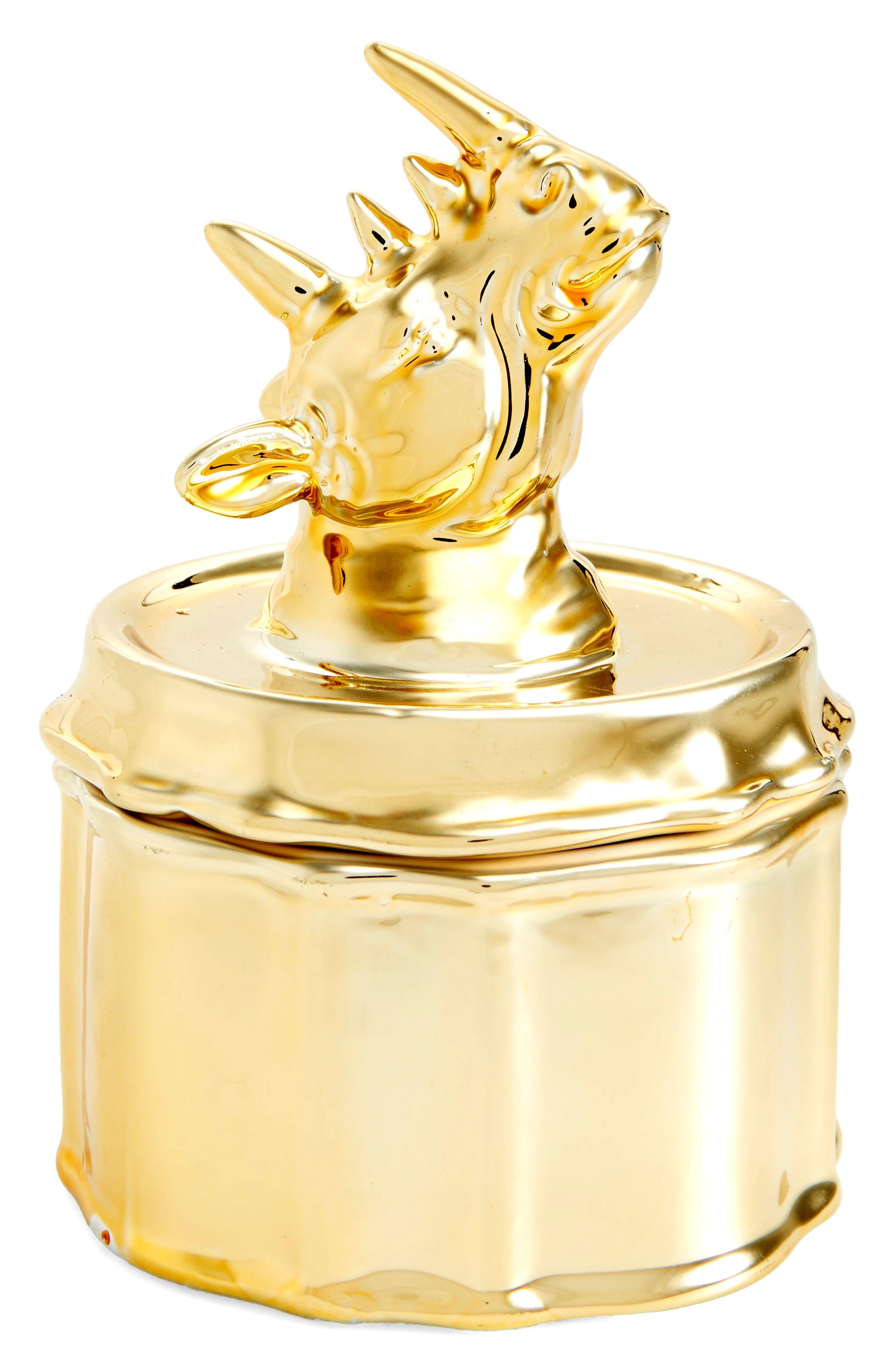 Small Rhino Trinket Dish,                             Main thumbnail 1, color,                             Gold