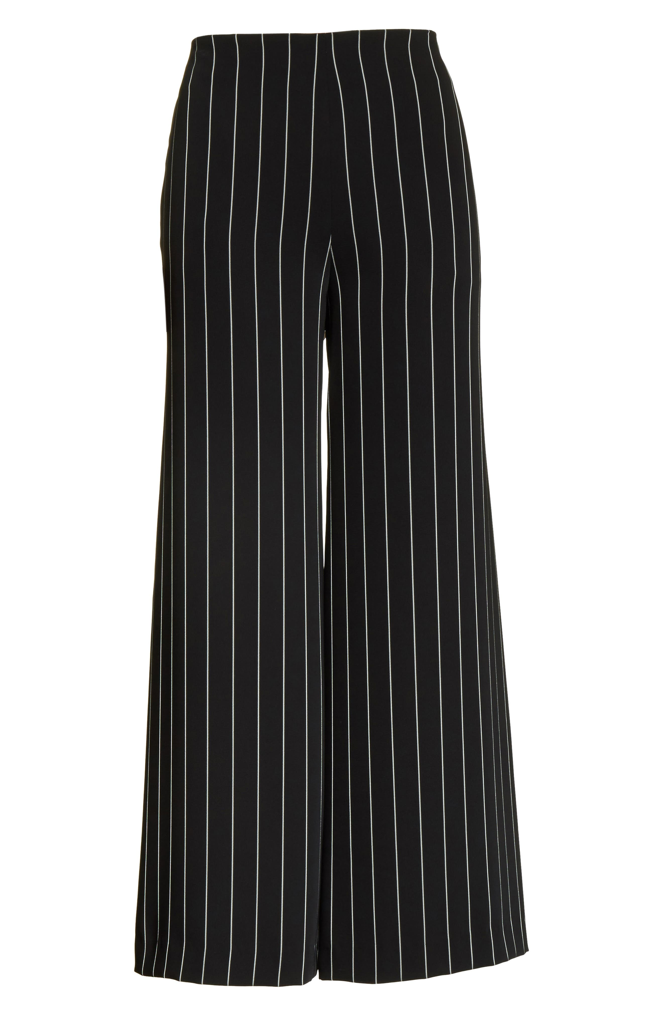 Wide Leg Stripe Trousers,                             Alternate thumbnail 6, color,                             Jet