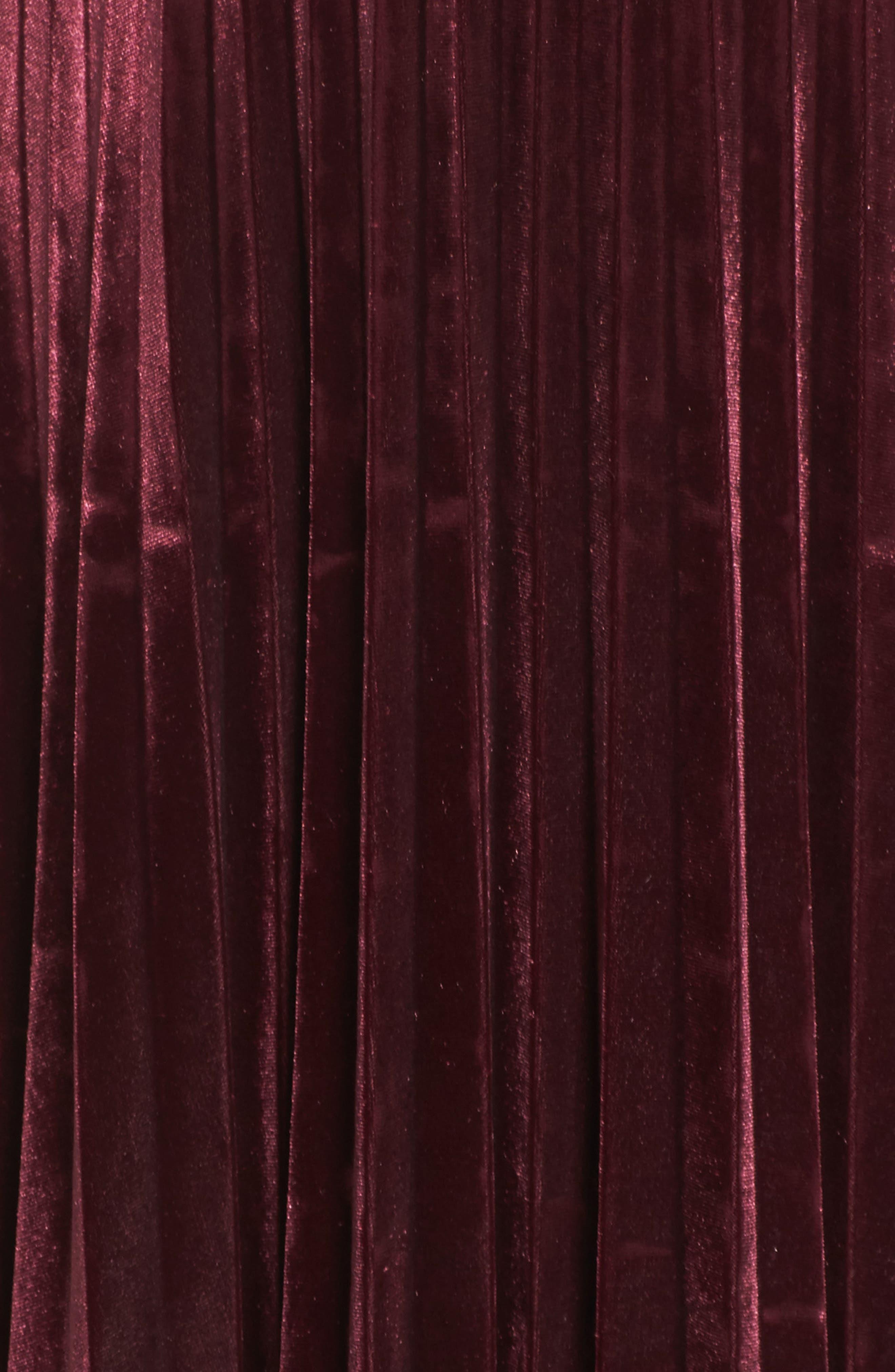 Velvet Midi Dress,                             Alternate thumbnail 5, color,                             Wine