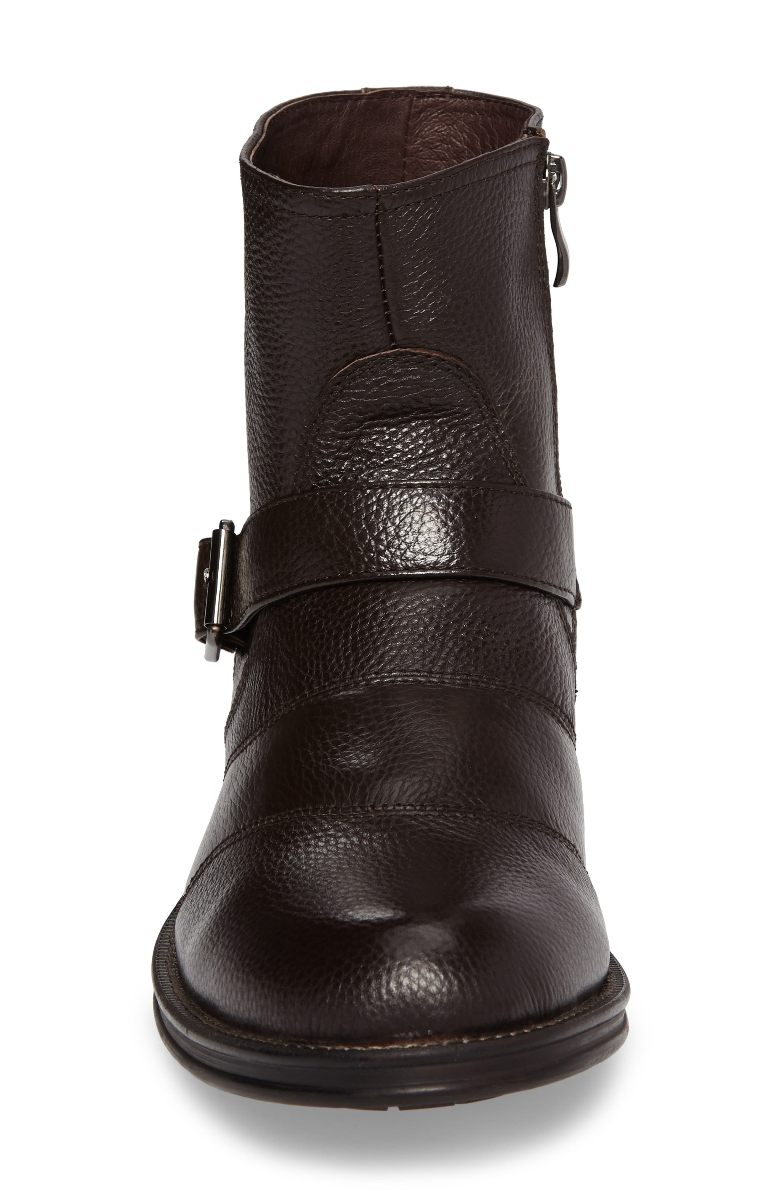 Howson Buckle Strap Boot,                             Alternate thumbnail 4, color,                             Brown Leather