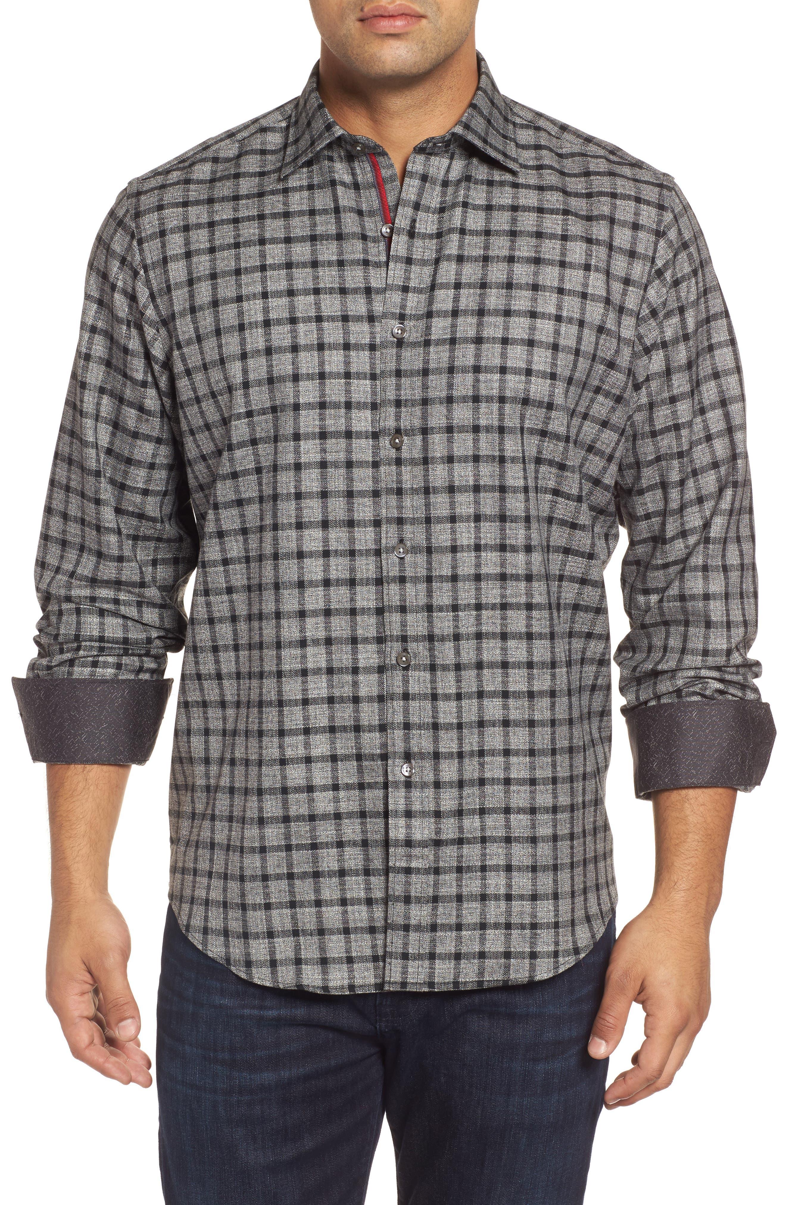 Main Image - Bugatchi Classic Fit Heathered Windowpane Sport Shirt