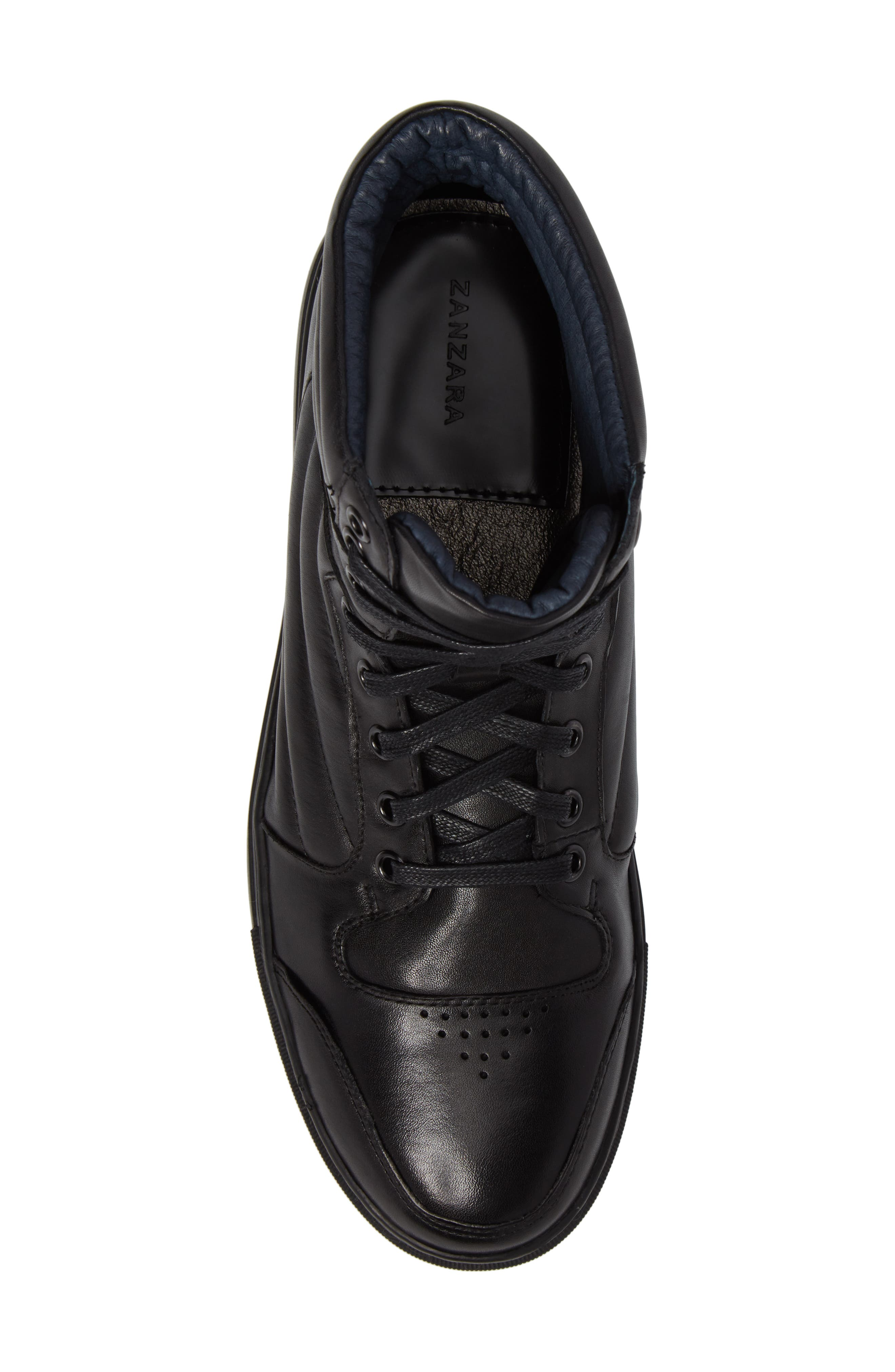 Vacdes High Top Sneaker,                             Alternate thumbnail 5, color,                             Black Leather