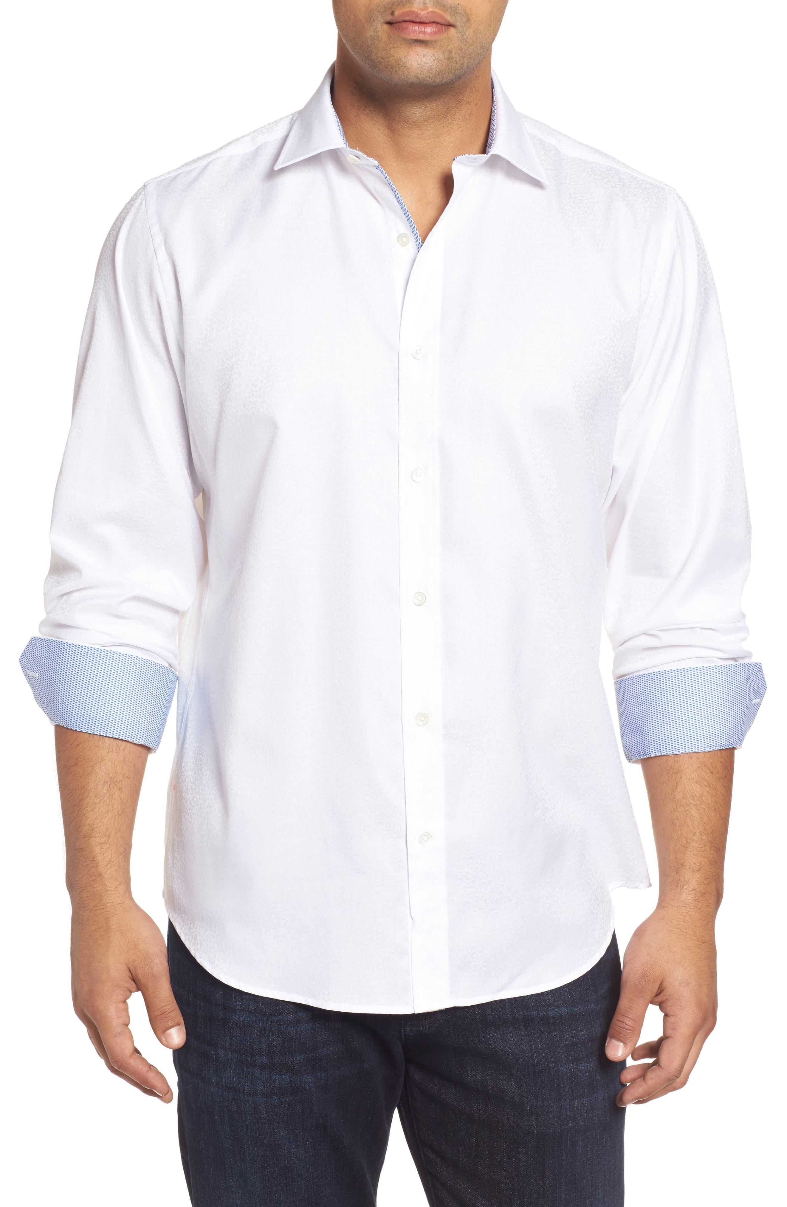 Main Image - Bugatchi Classic Fit Floral Jacquard Sport Shirt