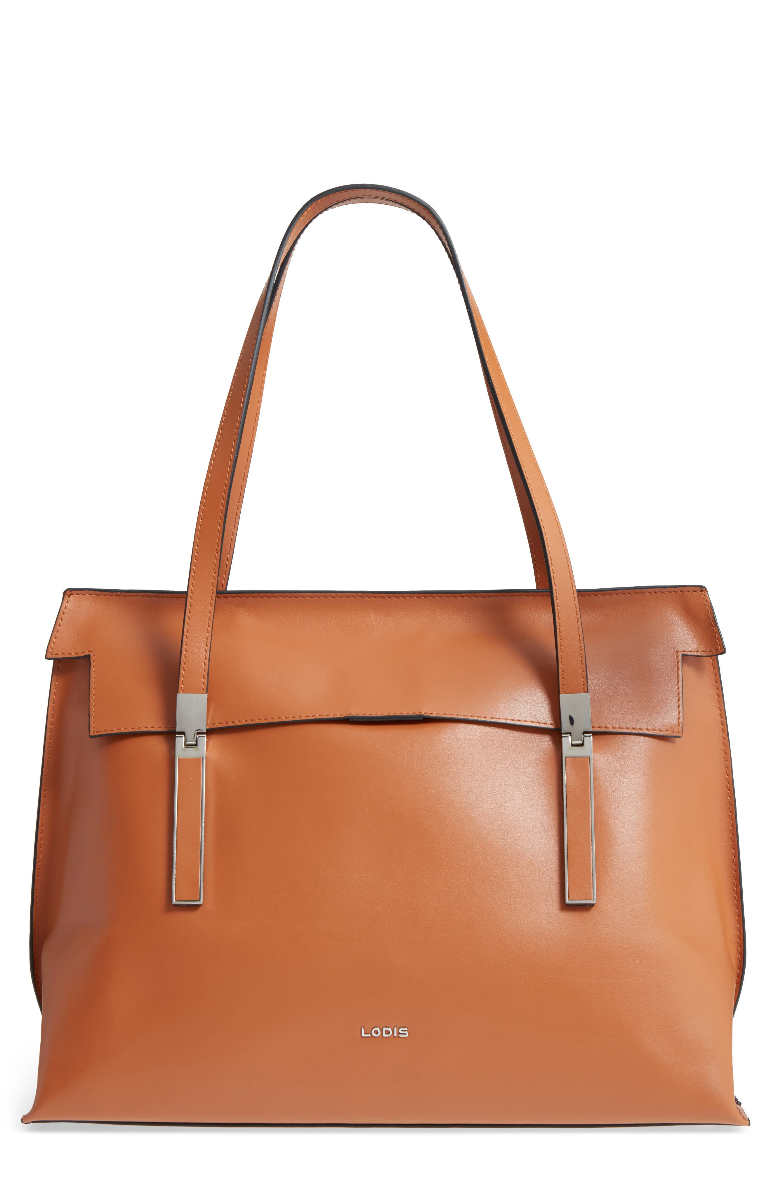 LODIS Silicon Valley - Lorrain RFID Leather Satchel,                             Main thumbnail 1, color,                             Toffee/ Taupe