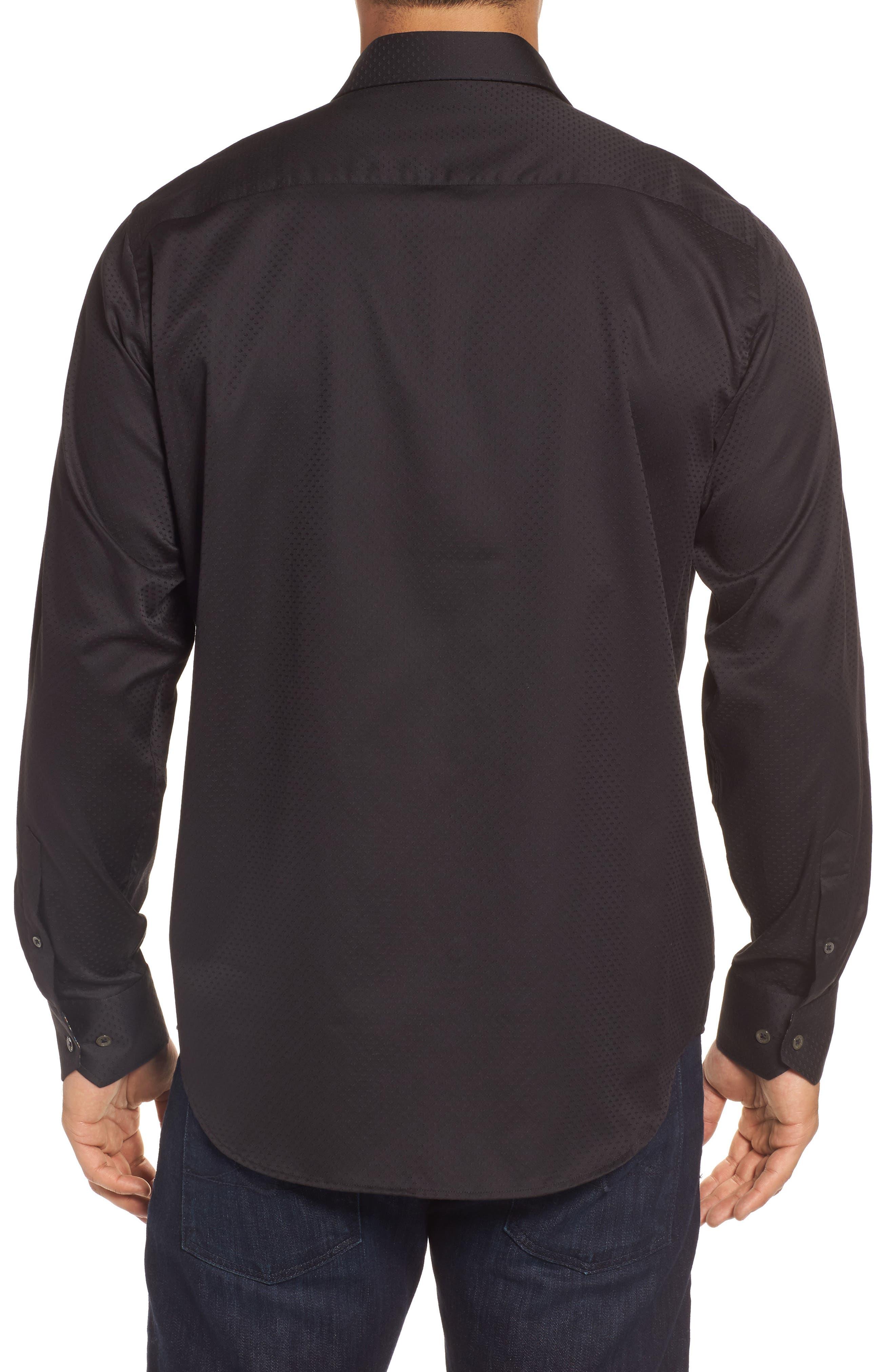 Classic Fit Diamond Jacquard Sport Shirt,                             Alternate thumbnail 2, color,                             Black