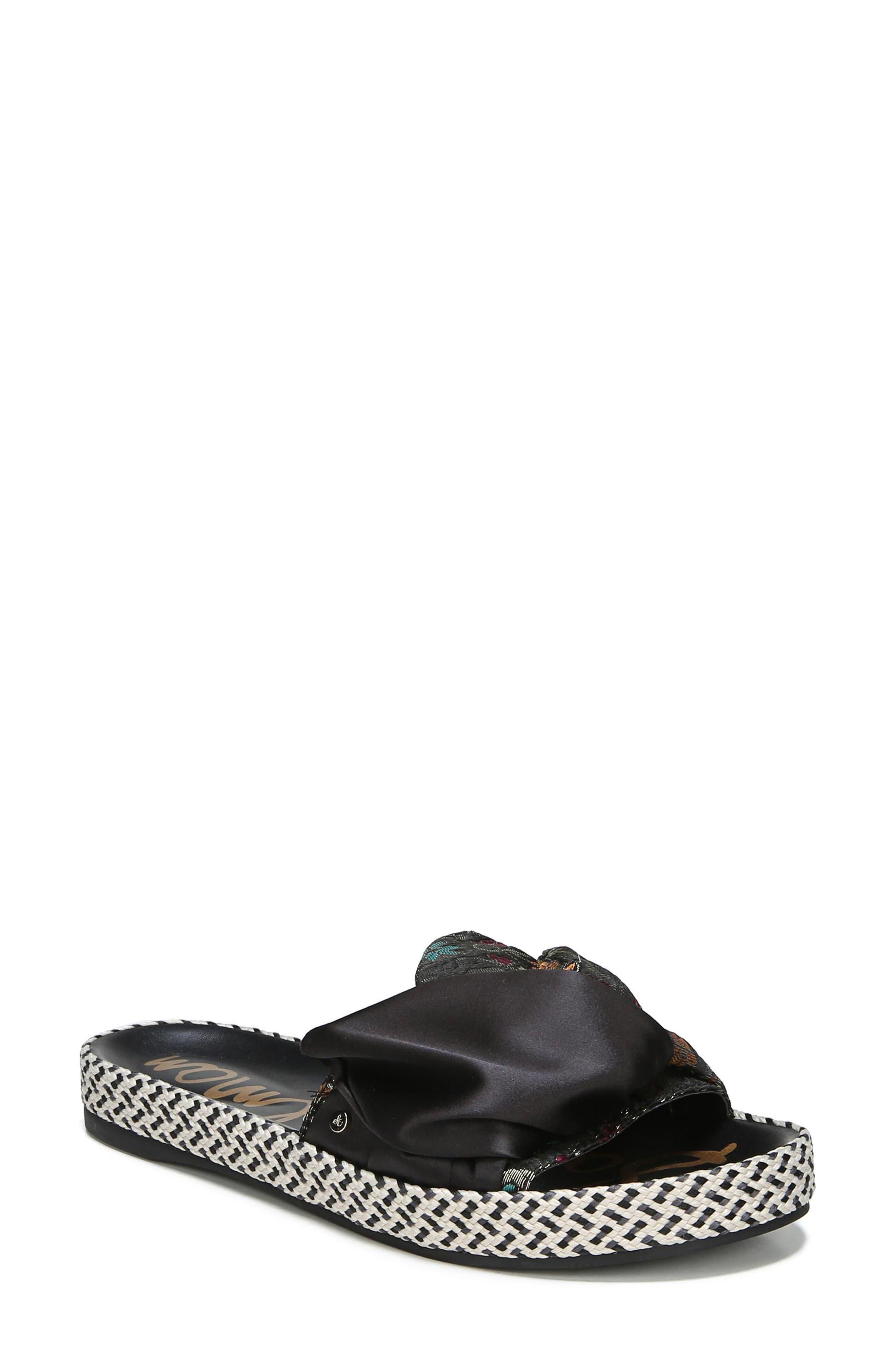 Bodie Slide Sandal,                             Main thumbnail 1, color,                             Black Floral Brocade