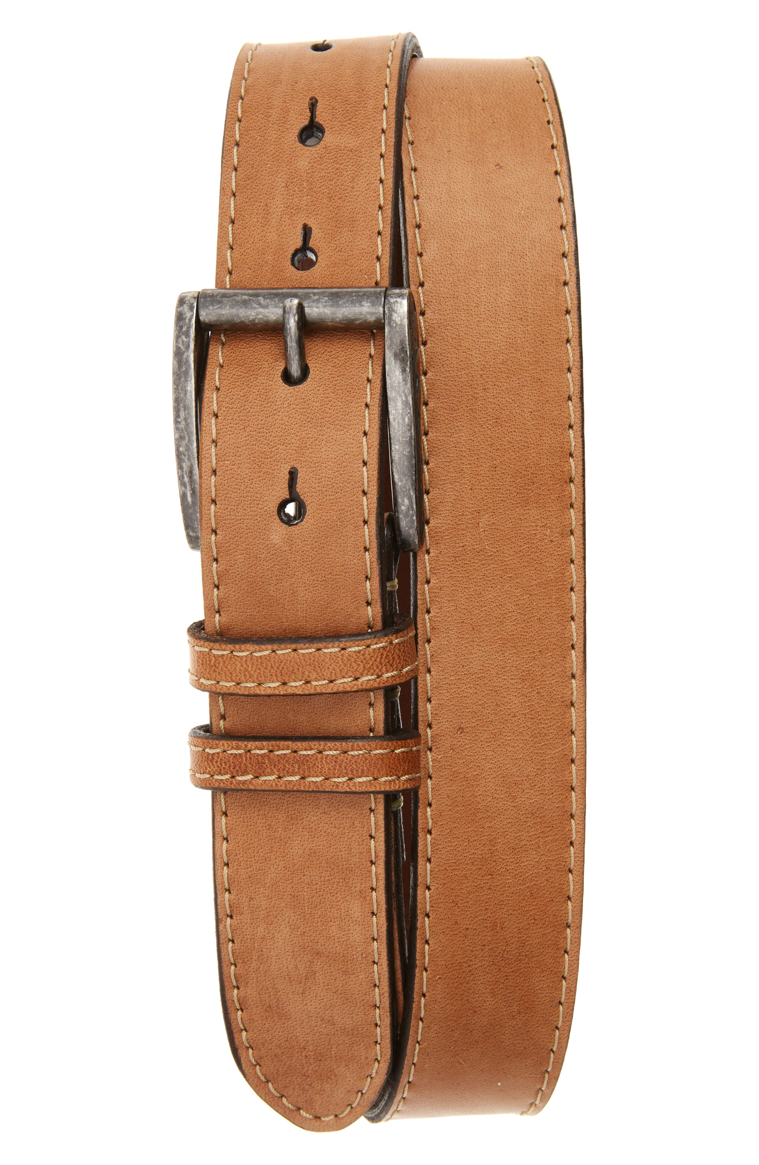 Waxed Horsehide Leather Belt,                         Main,                         color, Tan