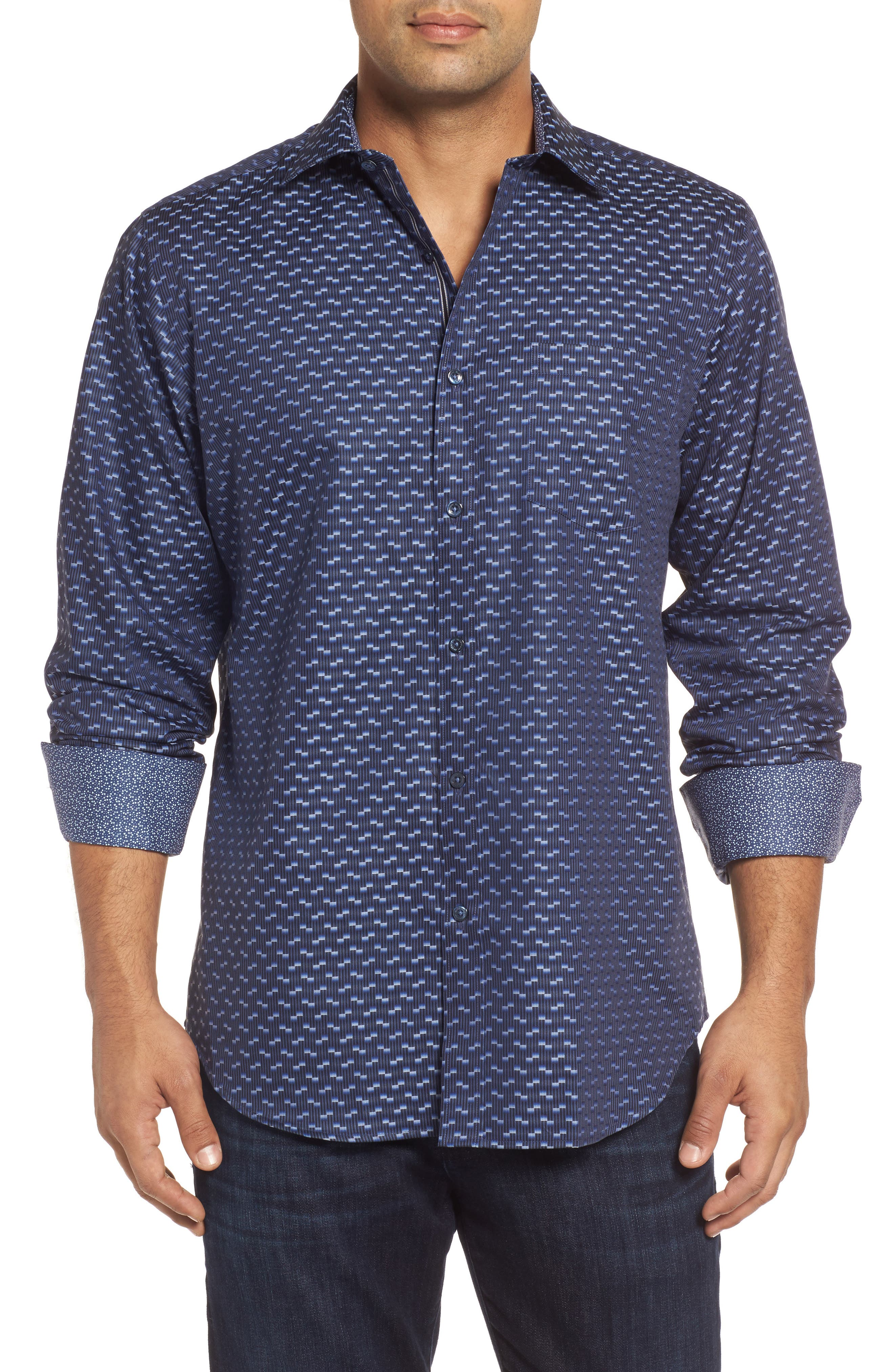 Classic Fit Geo Jacquard Sport Shirt,                         Main,                         color, Night Blue