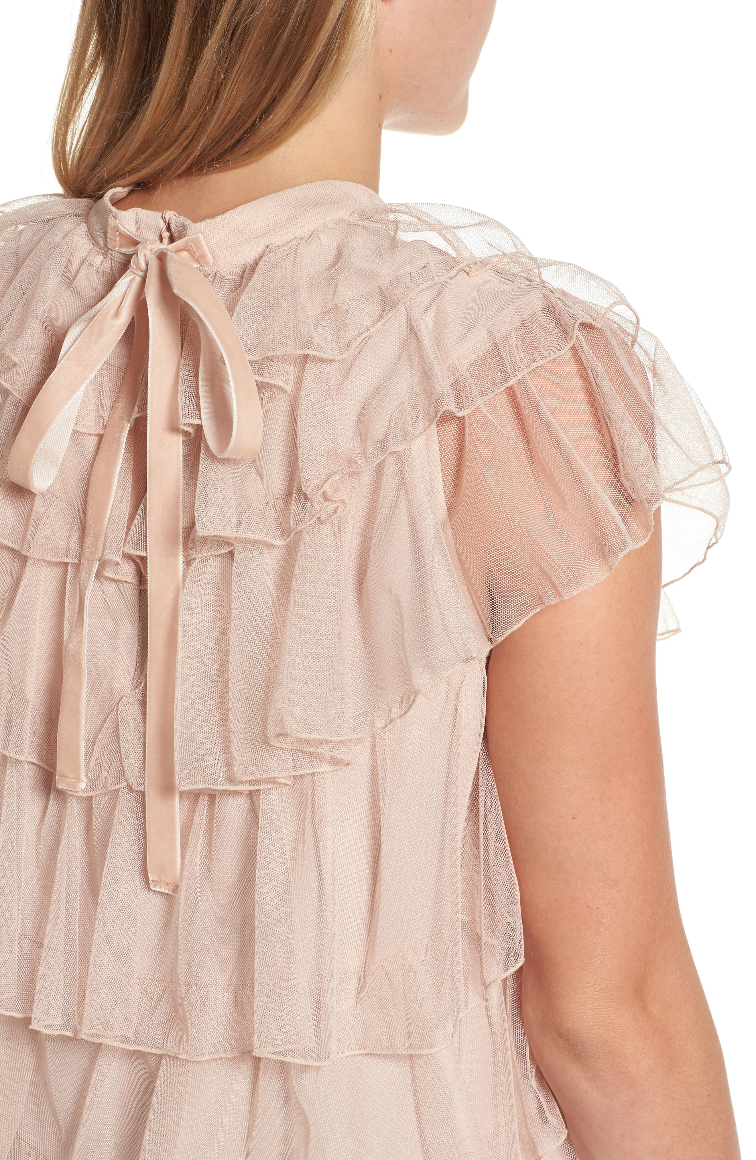 Tie Back Tiered Mesh Top,                             Alternate thumbnail 4, color,                             Blush