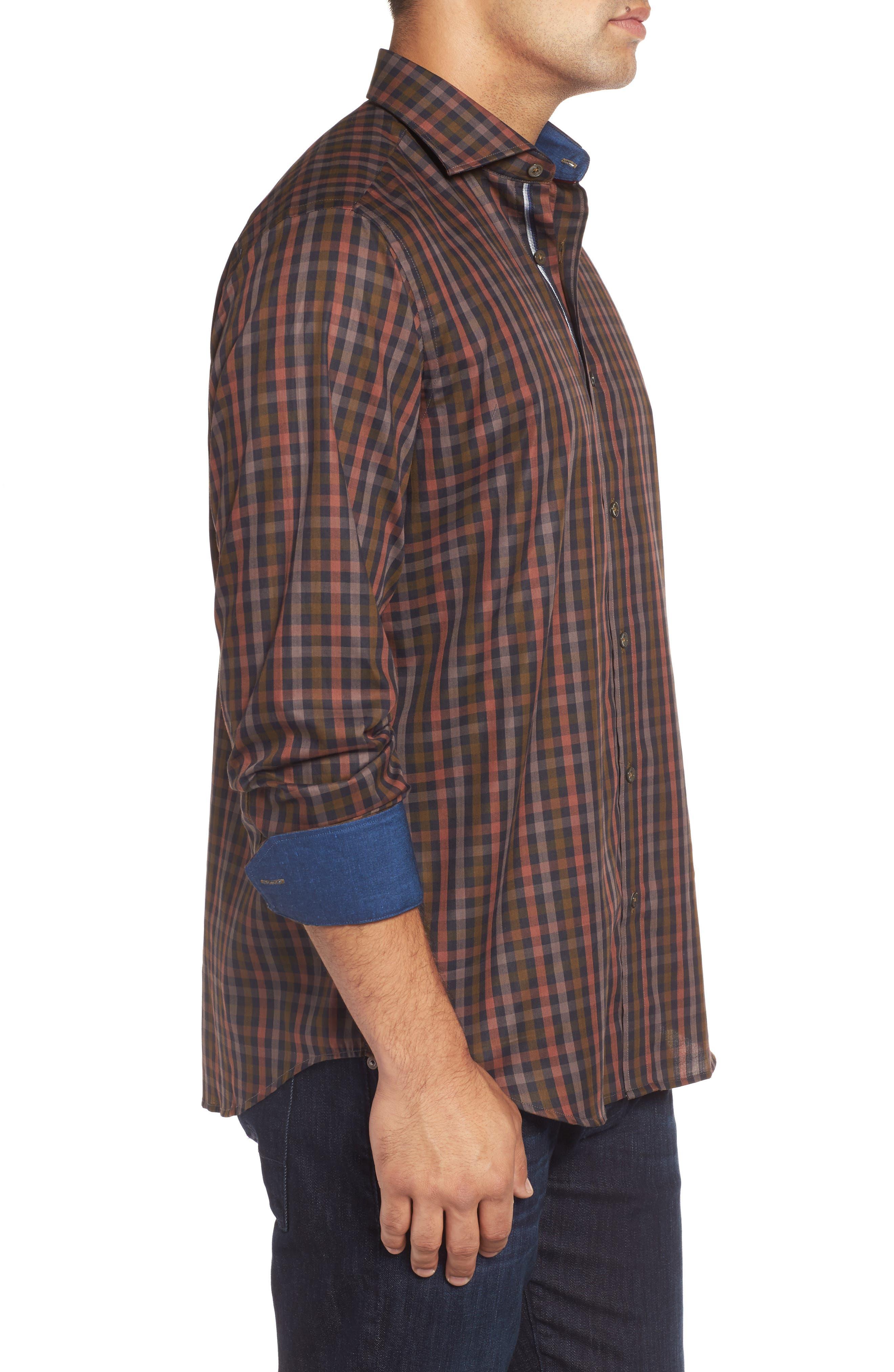 Classic Fit Check Twill Sport Shirt,                             Alternate thumbnail 3, color,                             Khaki