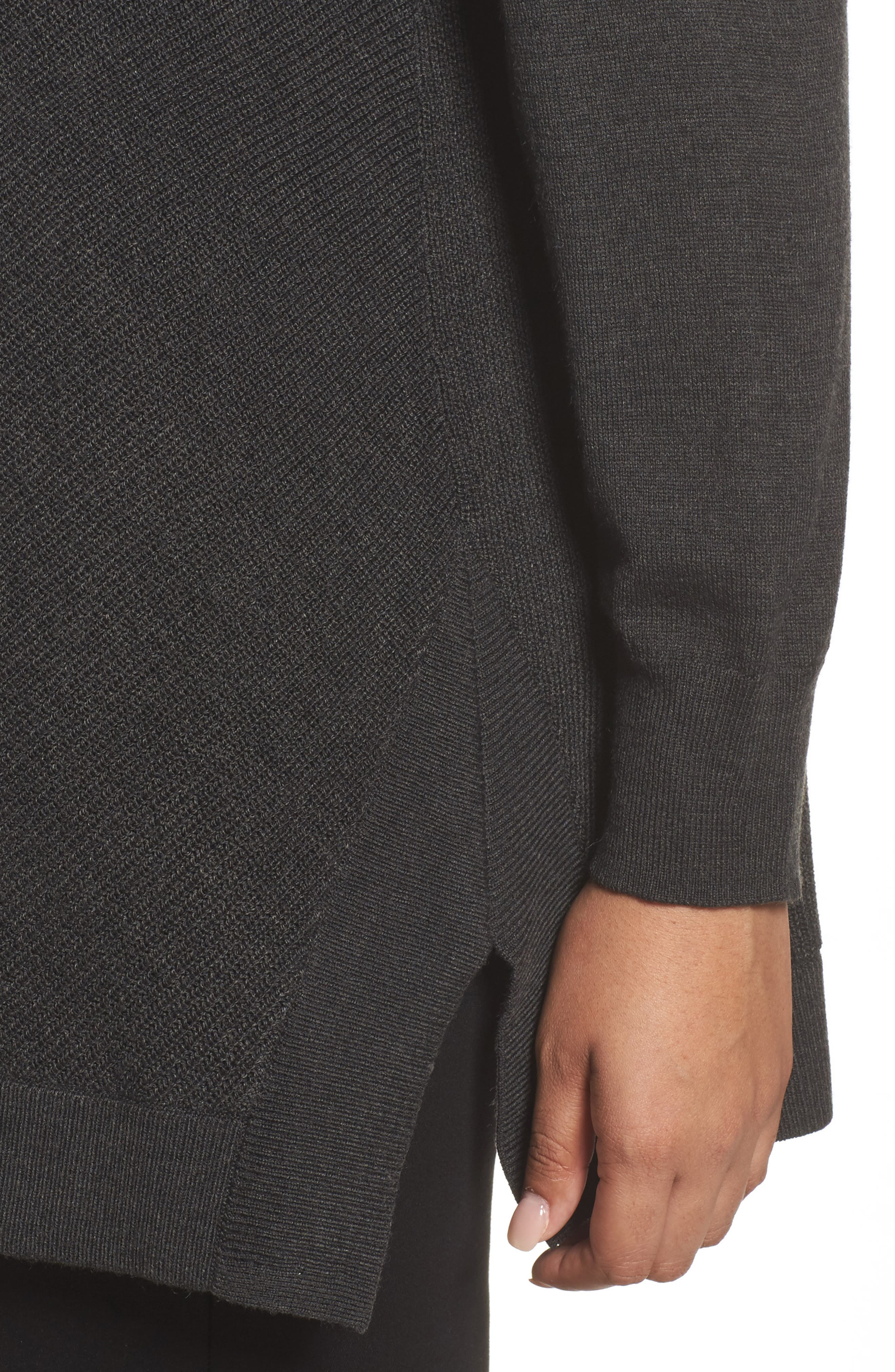 Cowl Neck Ribbed Trim Pullover,                             Alternate thumbnail 4, color,                             Grey Dark Charcoal Heather
