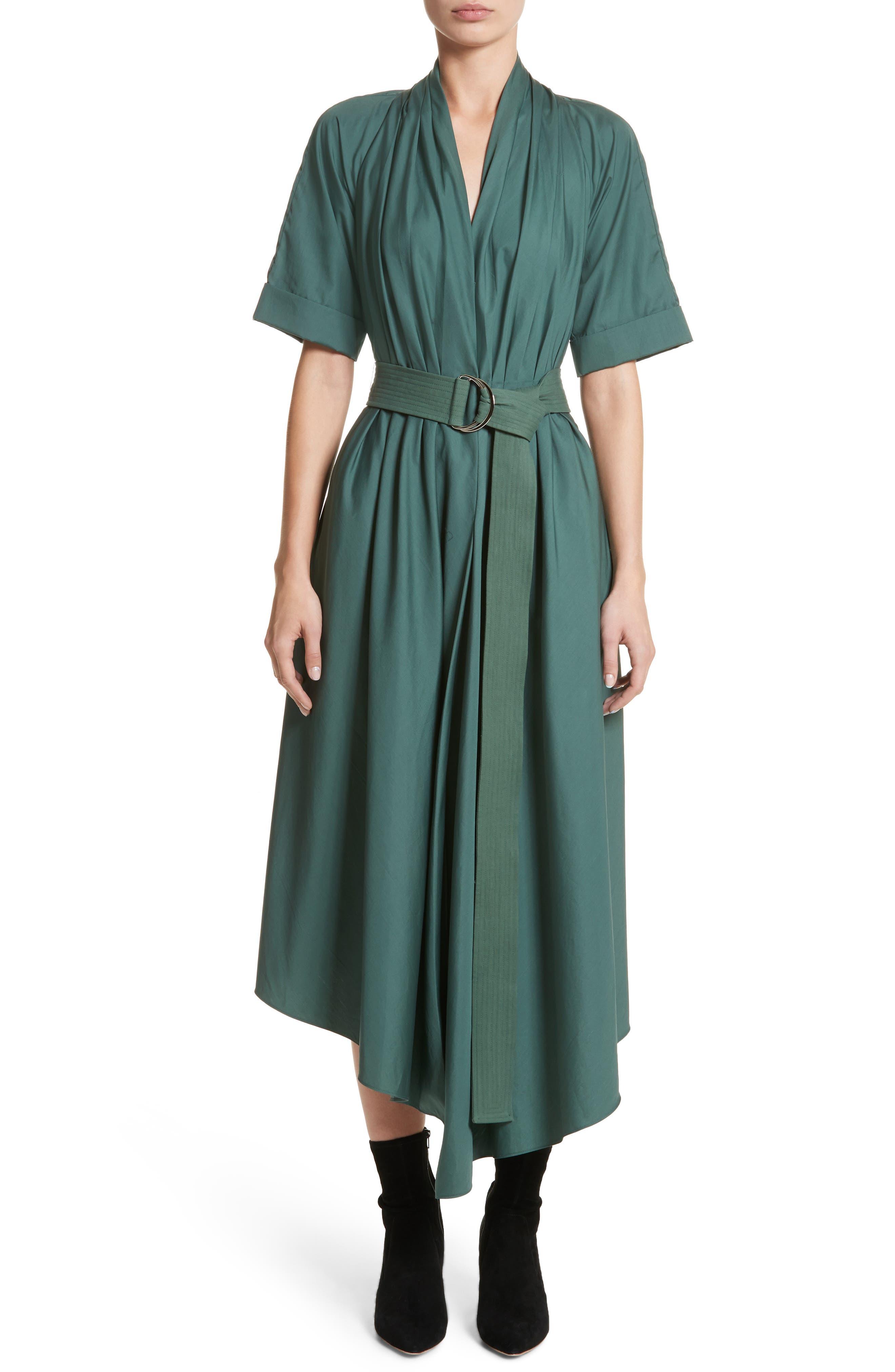 Asymmetrical Cotton Poplin Dress,                             Main thumbnail 1, color,                             Sage