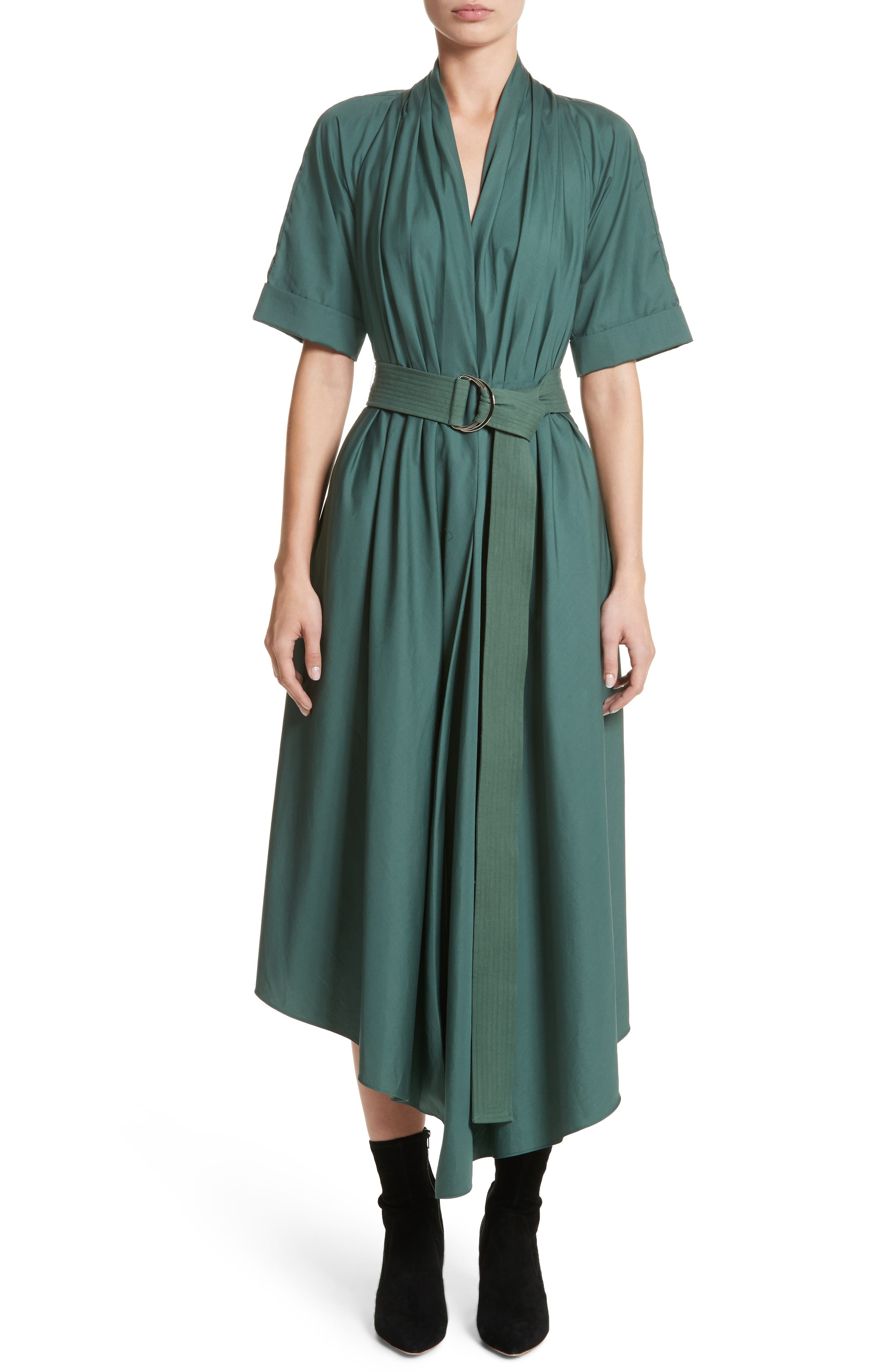 Asymmetrical Cotton Poplin Dress,                         Main,                         color, Sage